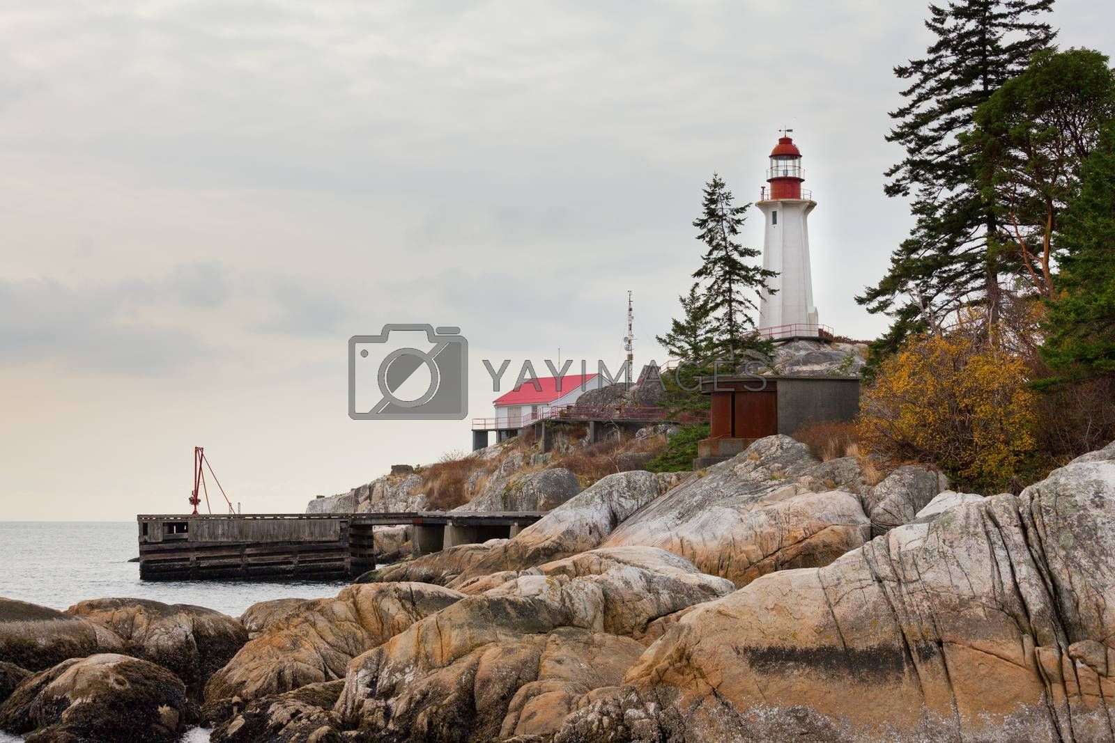 West Coast BC Canada granite rock cliff lighthouse by PiLens