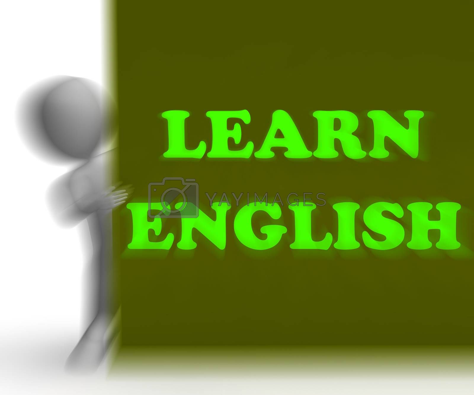 Learn English Placard Shows Foreign Language Teaching by stuartmiles
