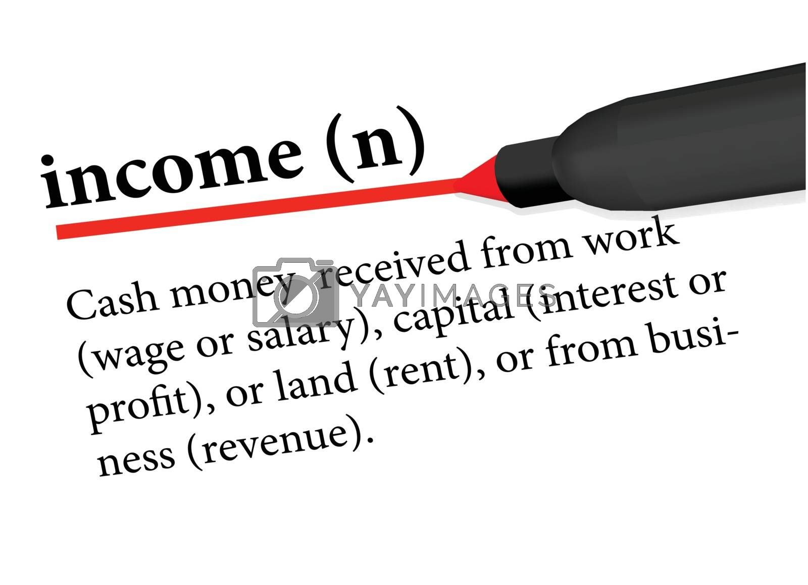 dictionary term of income isolated on white background by Istanbul2009