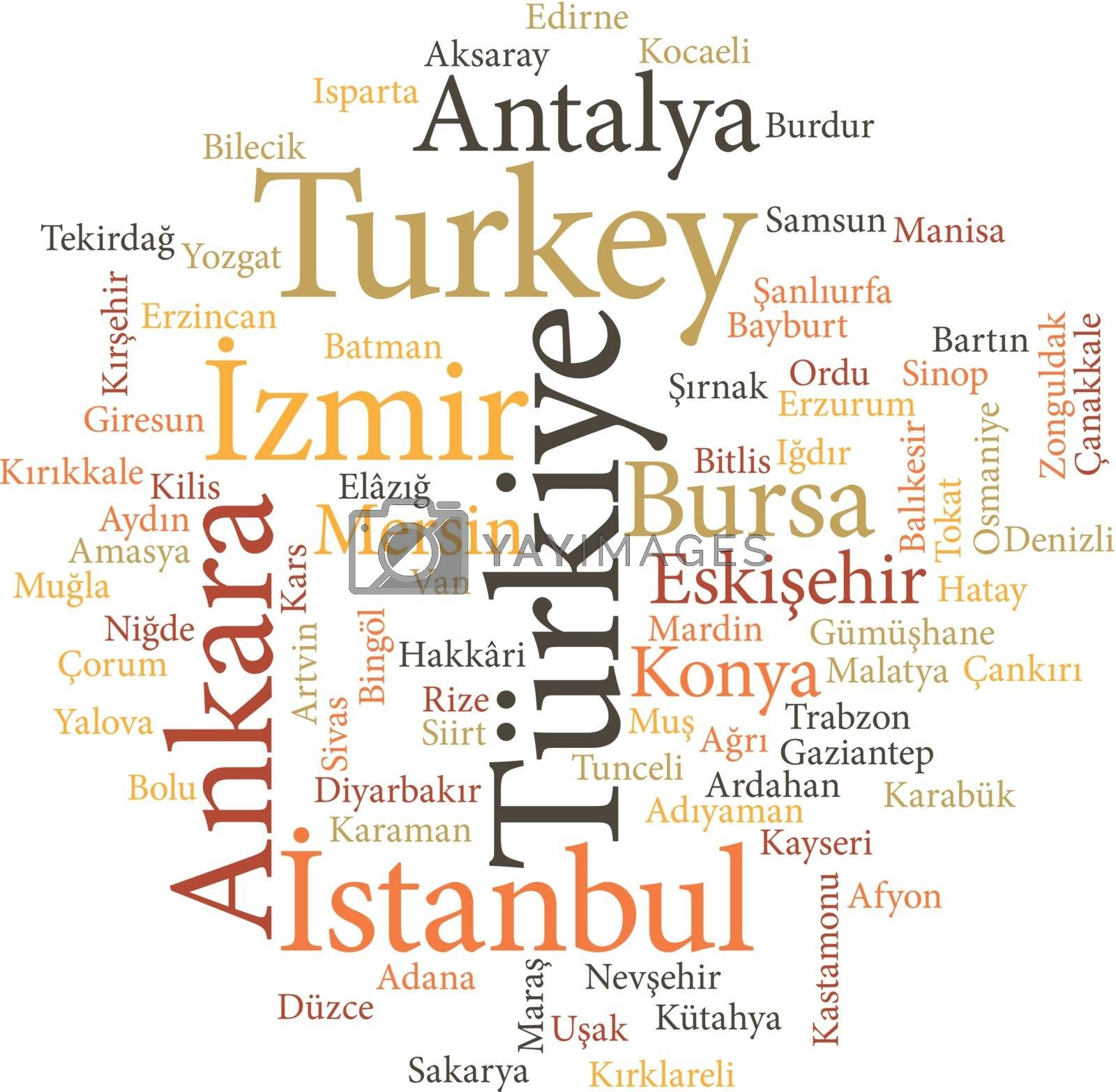 cities of Turkey in word clouds by Istanbul2009