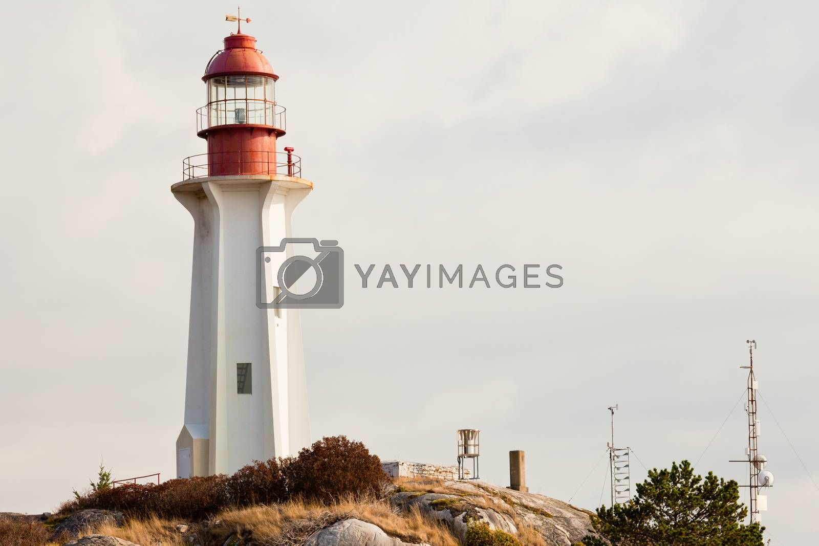 Lighthouse BC West Coast Canada granite rock cliff by PiLens