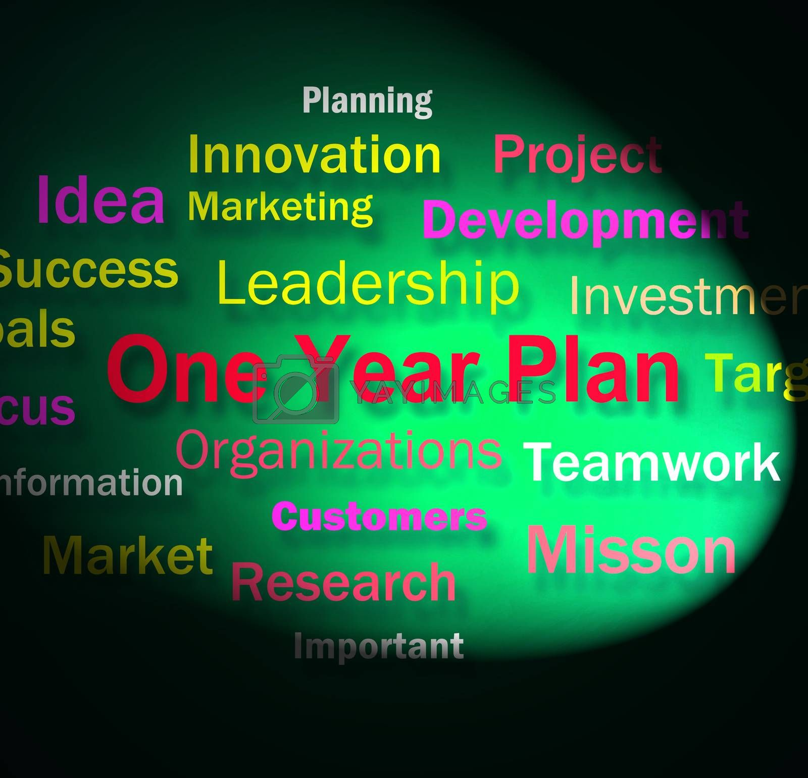 One Year Plan Words Means Goals For Next Year by stuartmiles