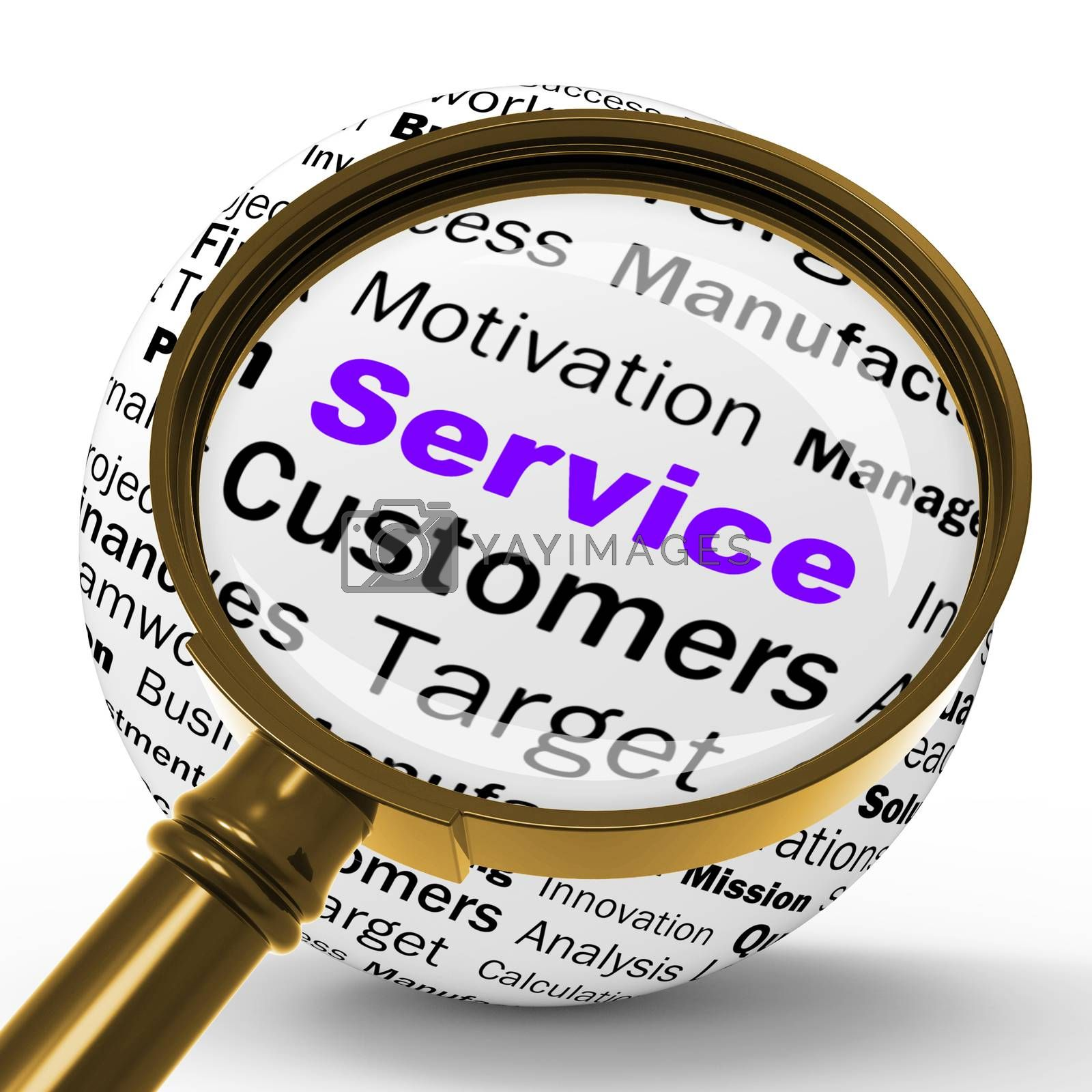 Service Magnifier Definition Shows Assistance Or Customer Suppor by stuartmiles