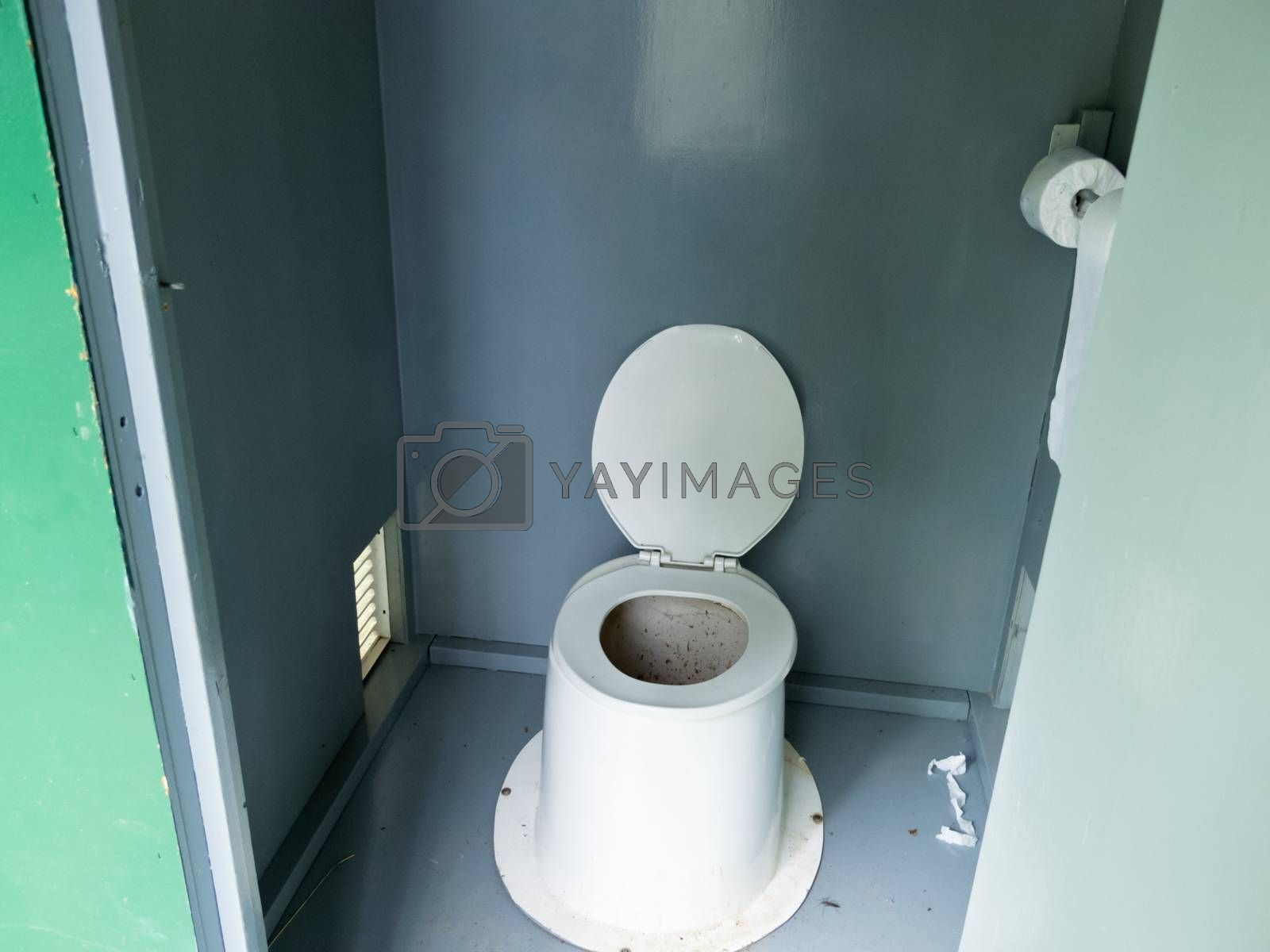 Filthy camp ground outhouse latrine inside toilet by PiLens