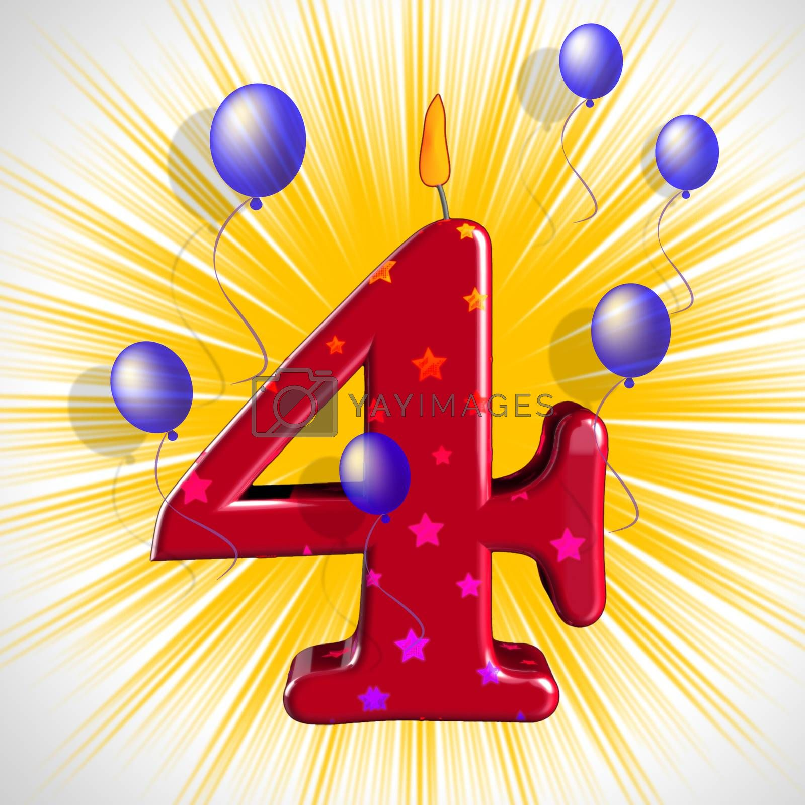 Number Four Party Means Wax Cake Candle Or Birthday Candle by stuartmiles
