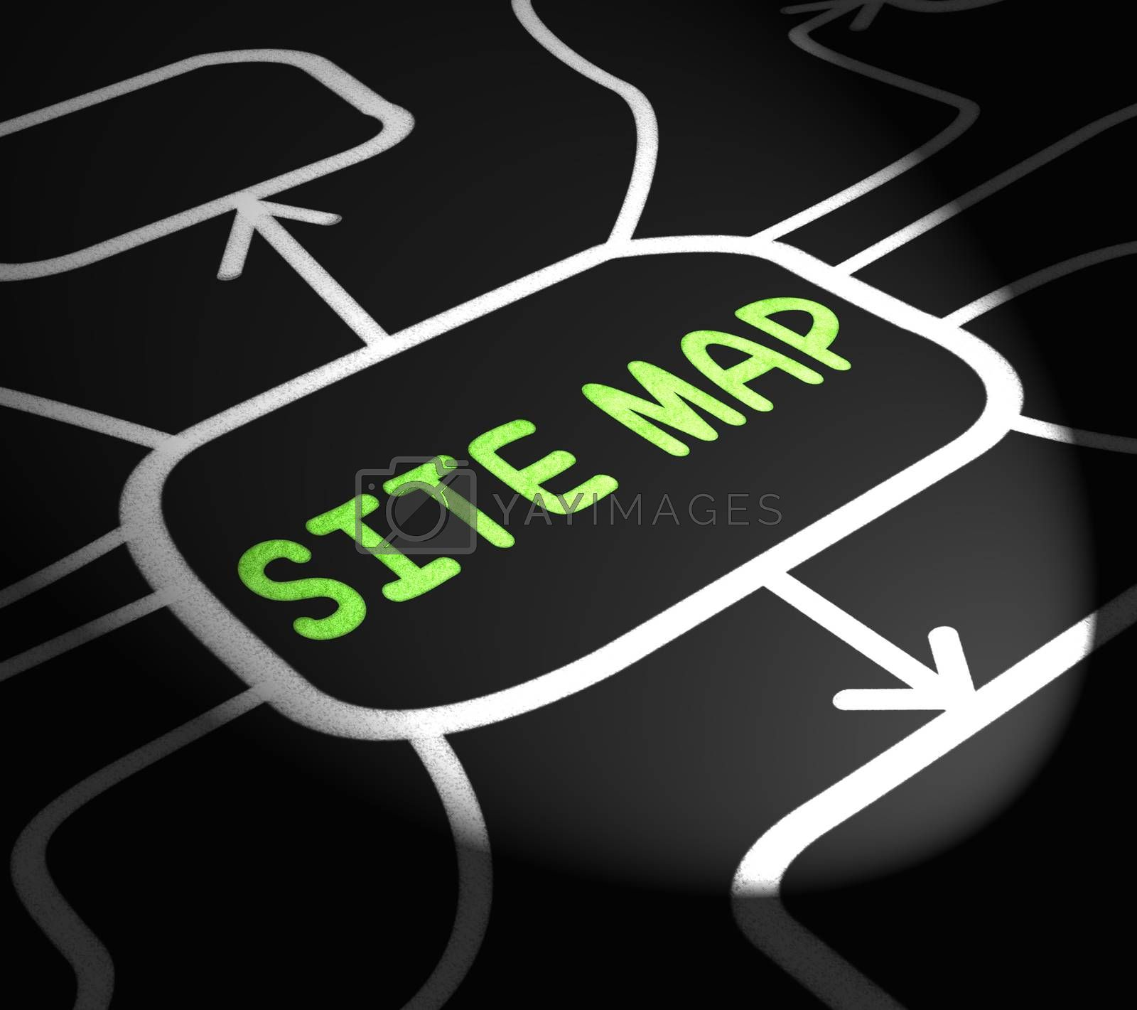 Site Map Arrows Means Navigating Around Website by stuartmiles