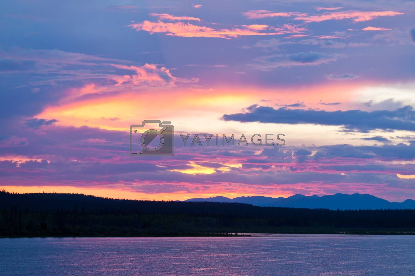 Six Mile River sunset sky Yukon Territory Canada by PiLens