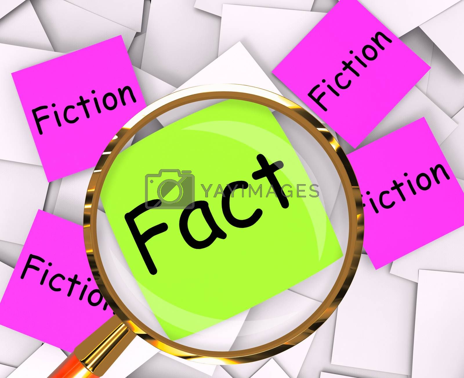 Fact Fiction Post-It Papers Mean Truth Or Myth by stuartmiles