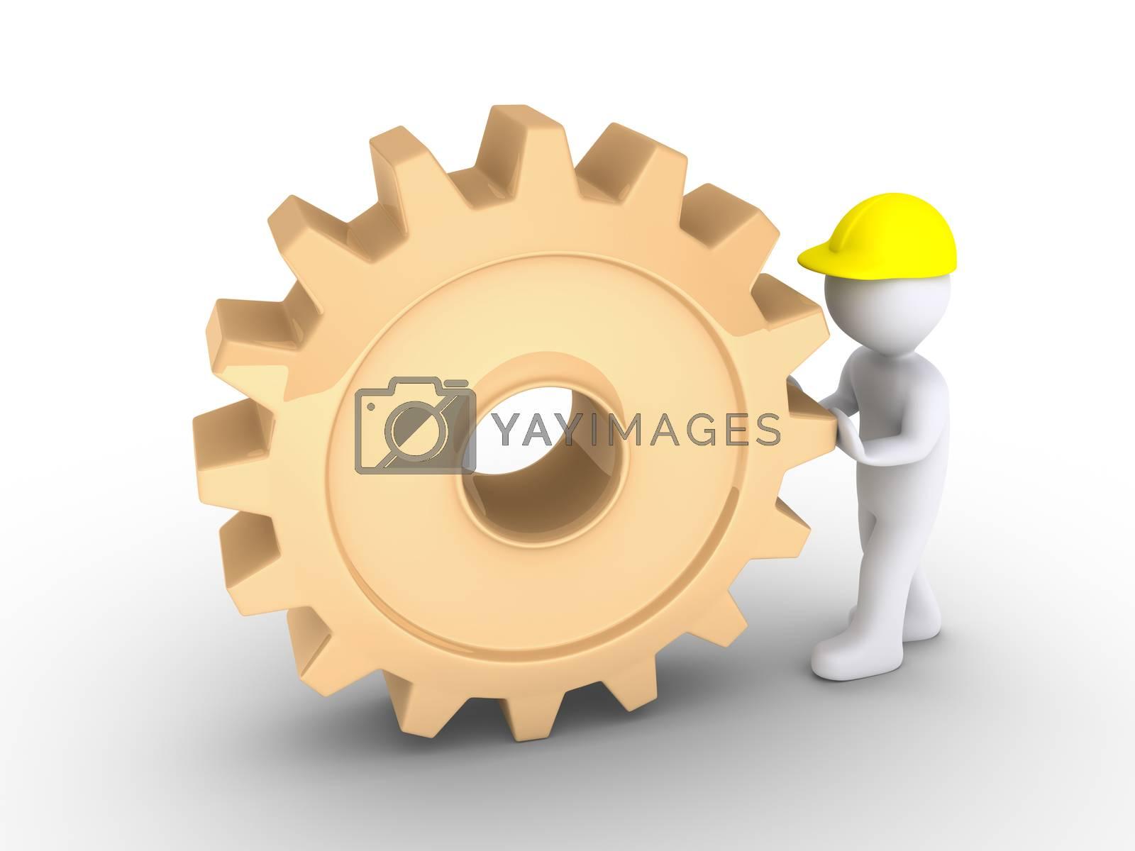 Worker is pushing cogwheel by 6kor3dos