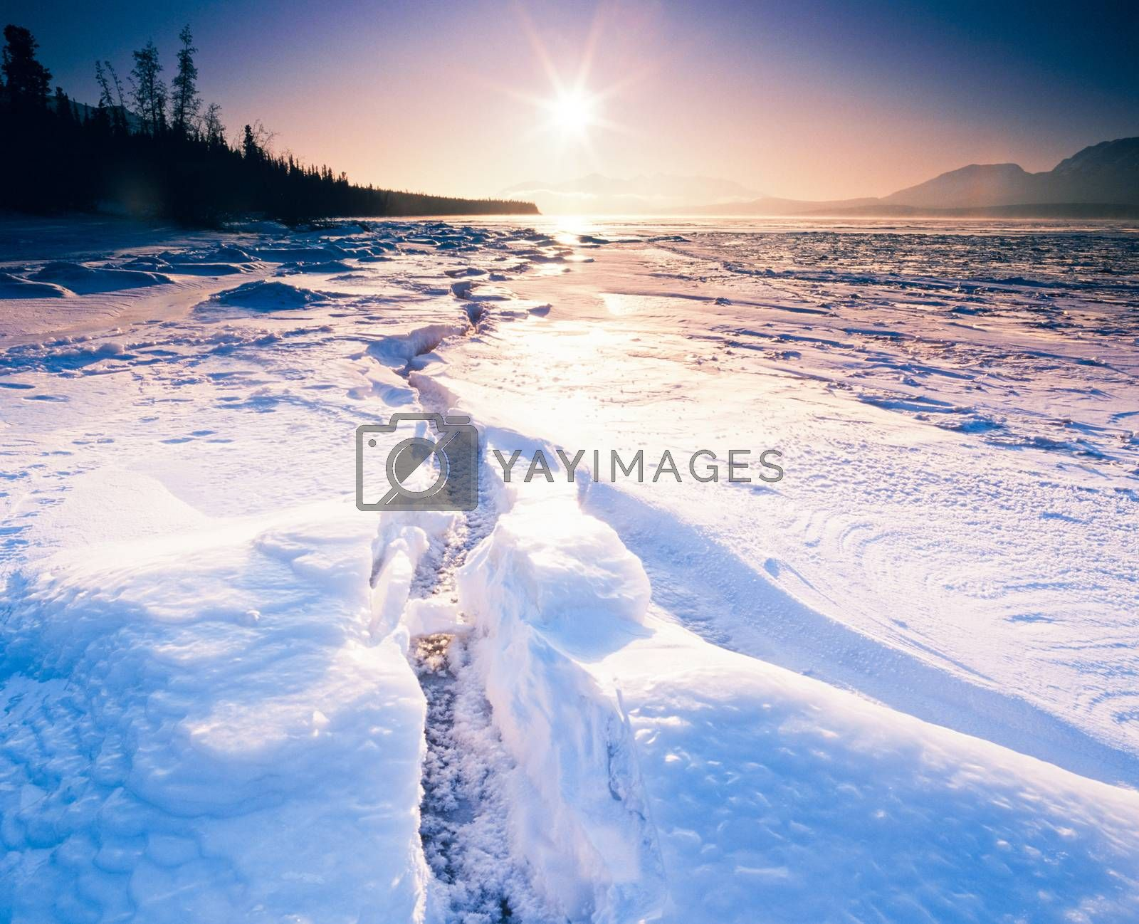 Low winter sun over large crevasse in shore ice of frozen Tagish Lake, Yukon Territory, Canada