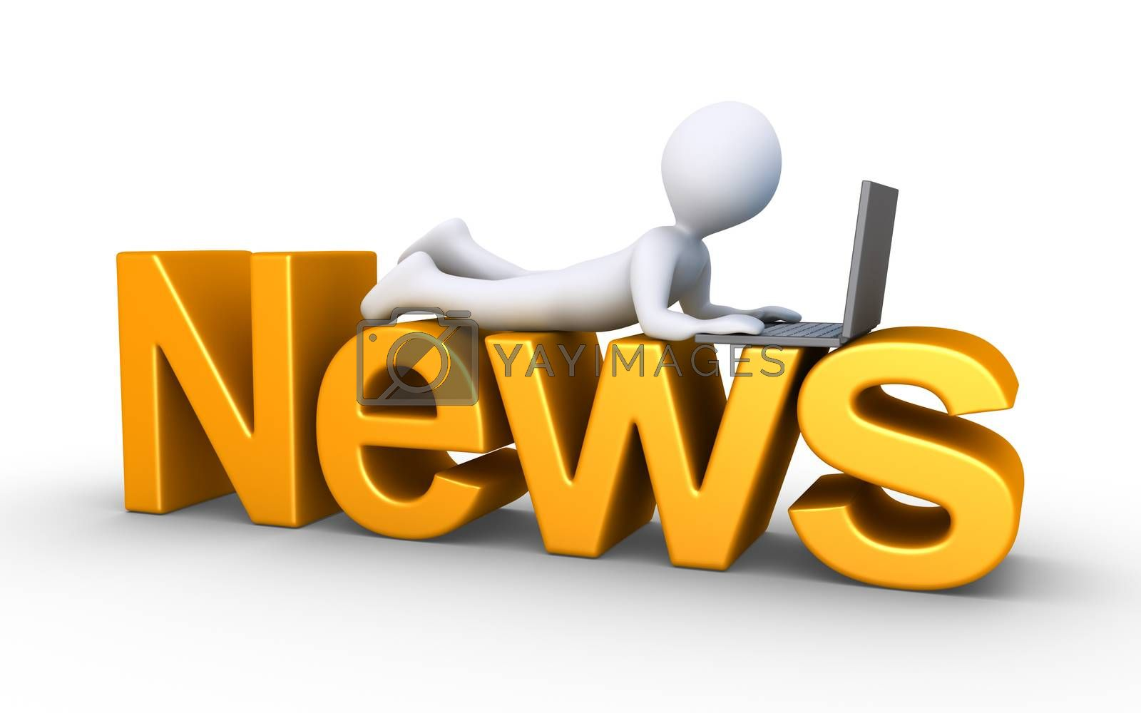 3d person with a laptop is lying on top of a News word