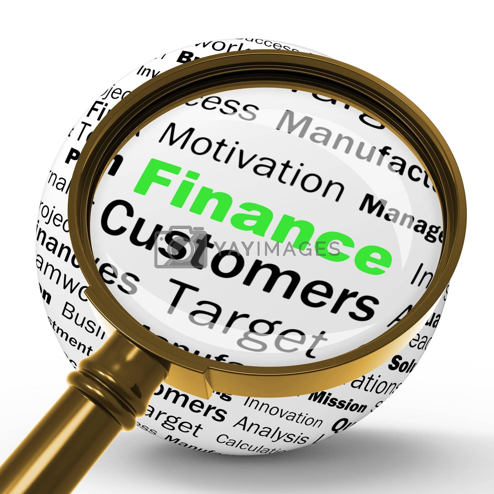 Finance Magnifier Definition Shows business Finances Or Incomes by stuartmiles