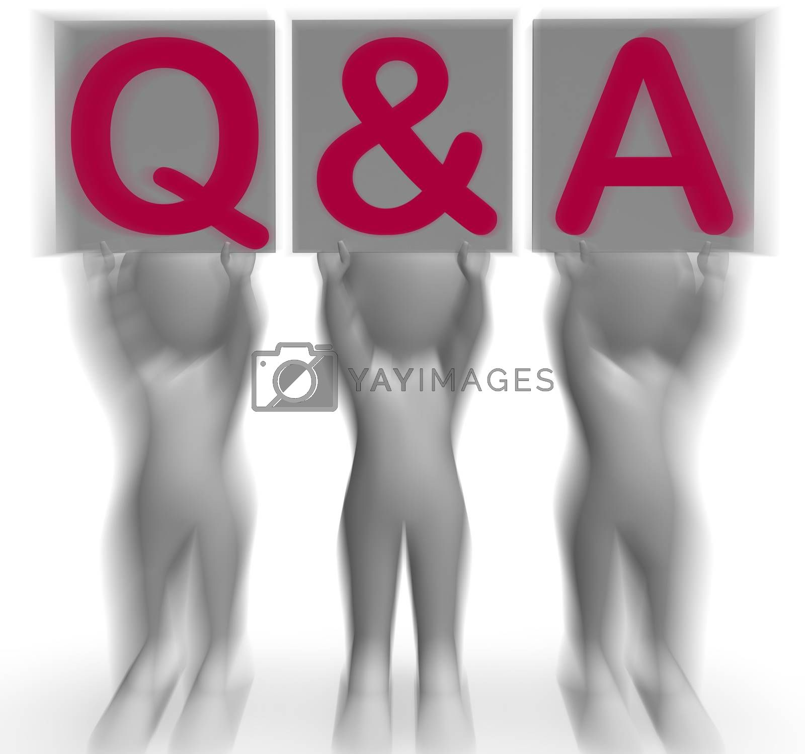 Q&A Placards Shows Online Support And Assistance by stuartmiles