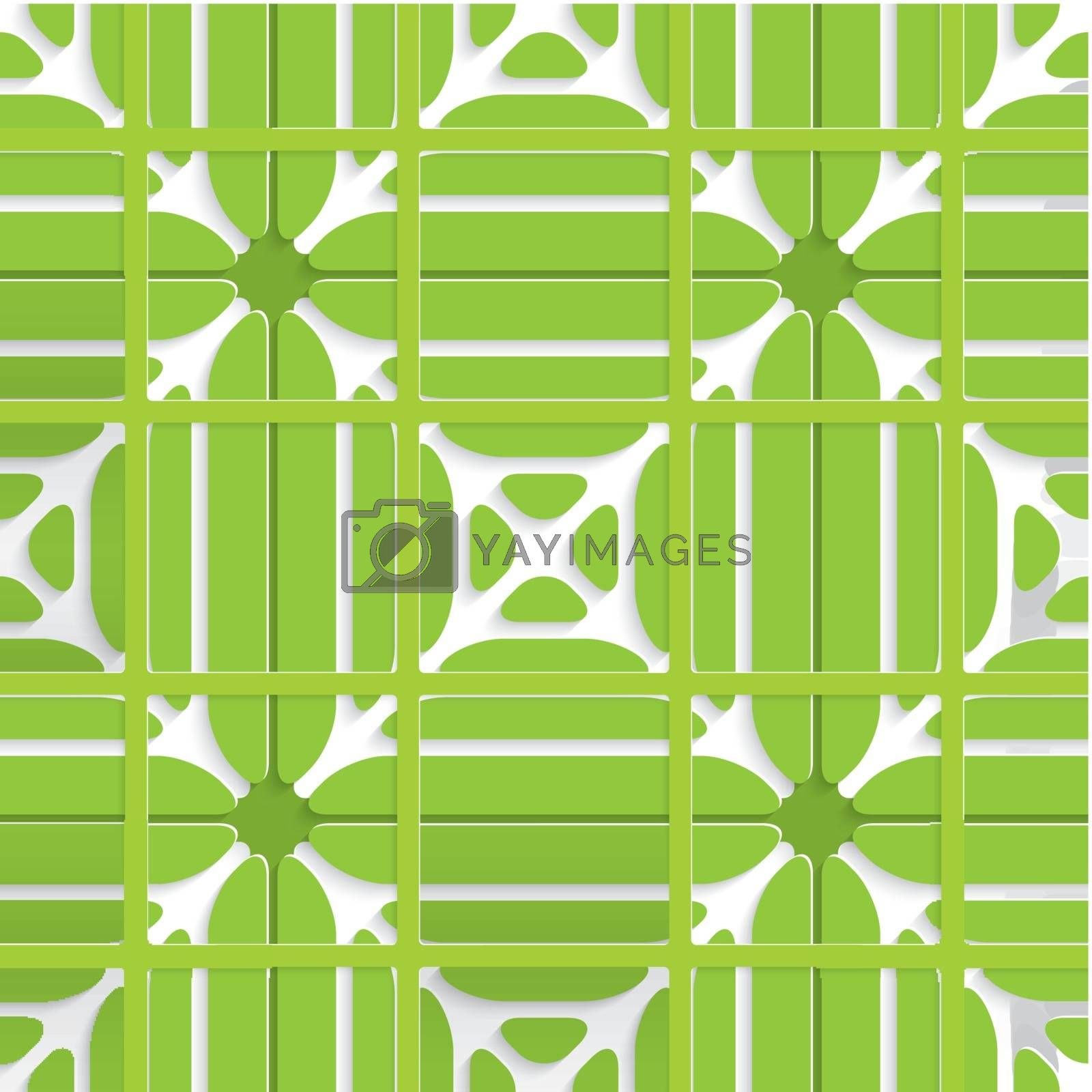 Green layered ornament seamless with grid by Zebra-Finch