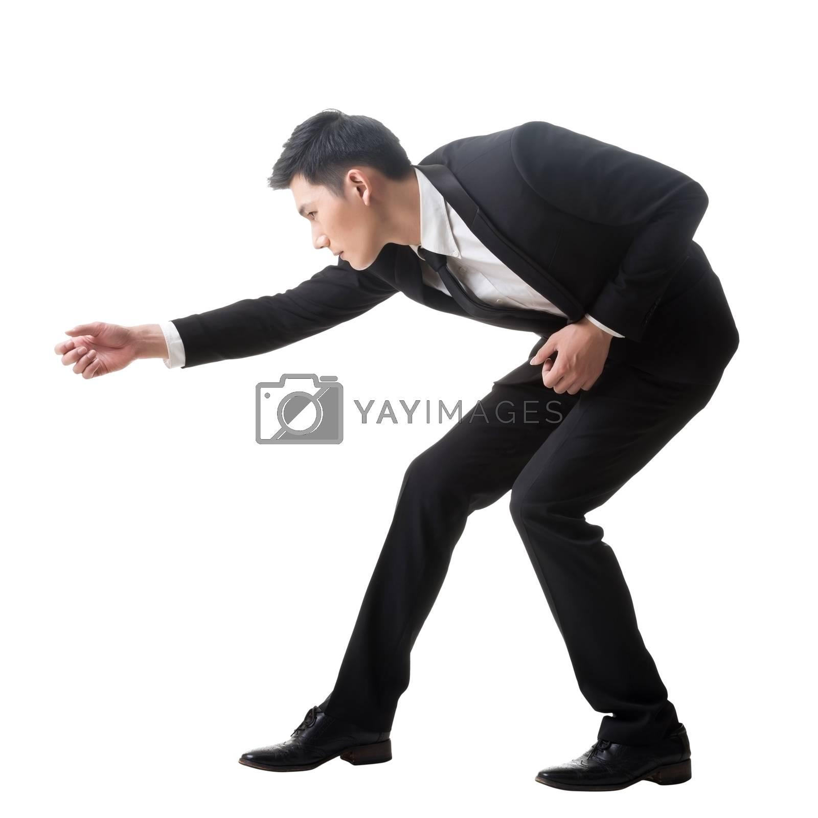 Asian business man posing tug of war by elwynn