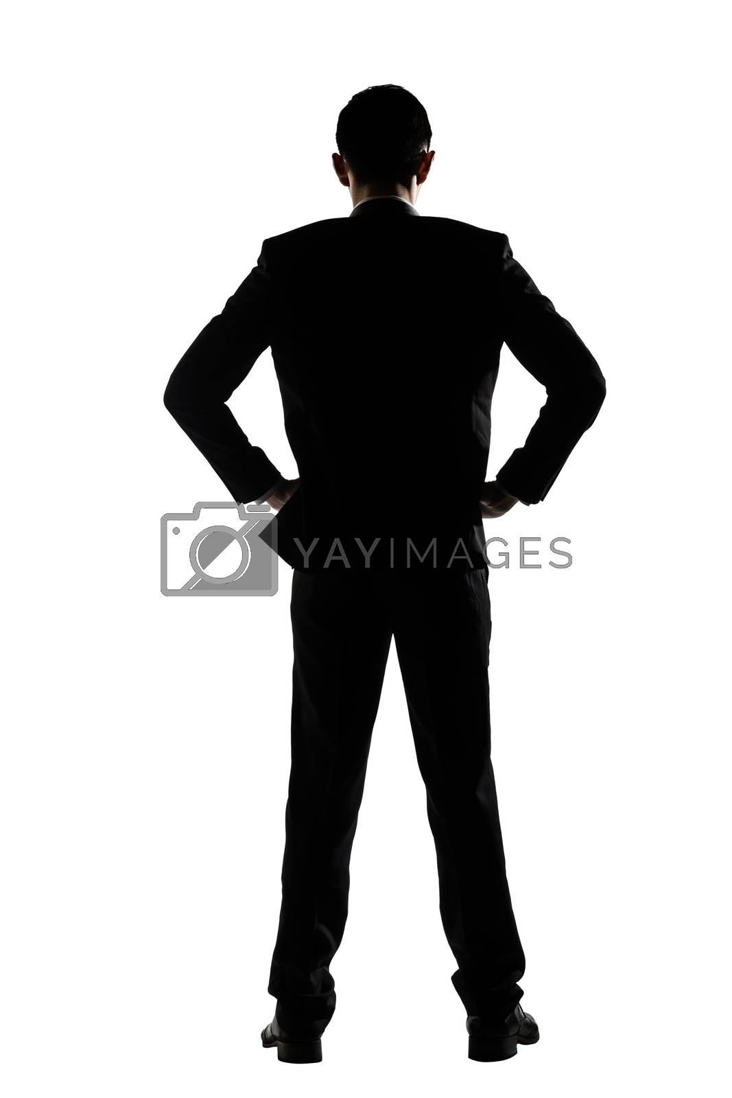 rear view of business man standing by elwynn
