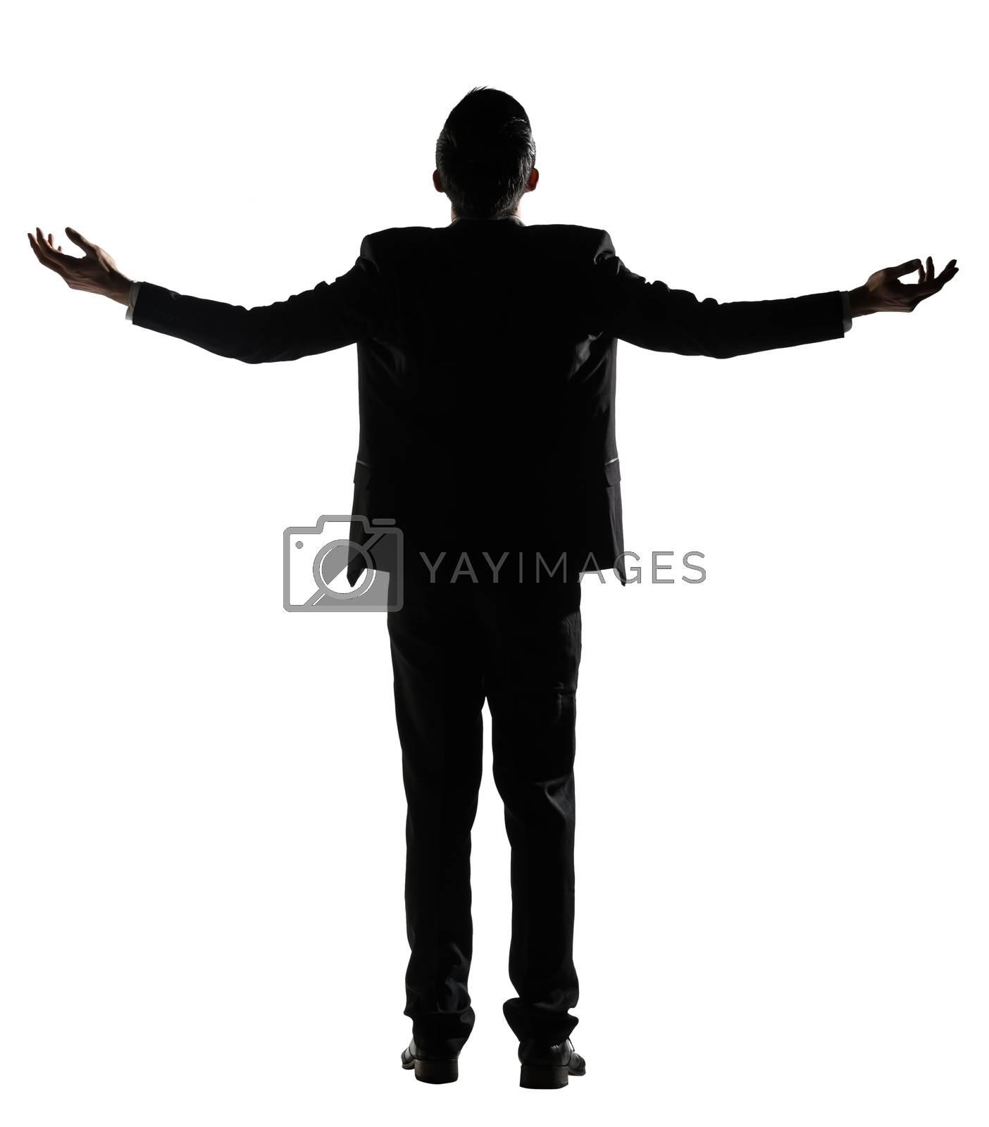 Asian businessman open arms feel free by elwynn