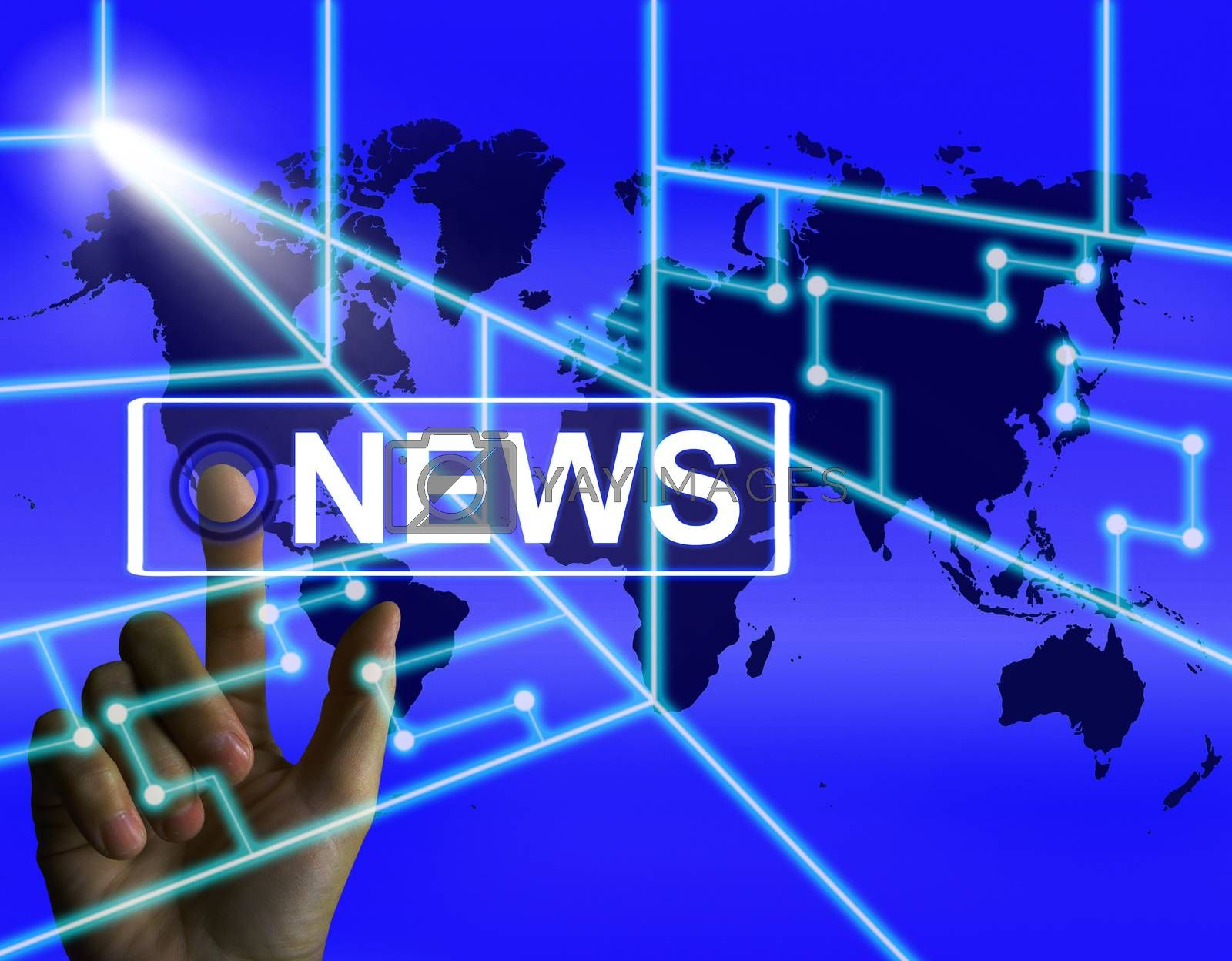 News Screen Shows Worldwide Newspaper or Media Information by stuartmiles