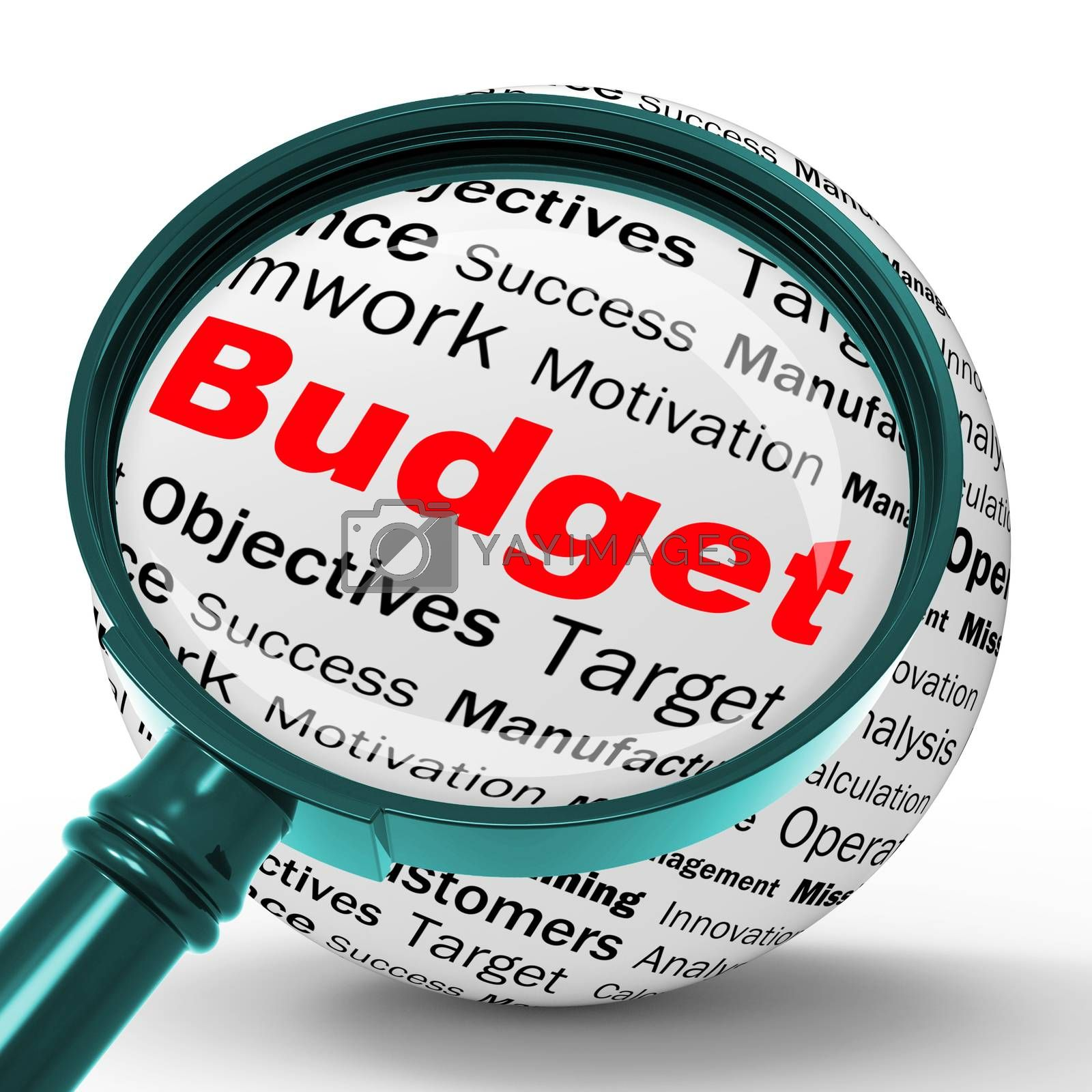 Budget Magnifier Definition Shows Financial Management Or busine by stuartmiles