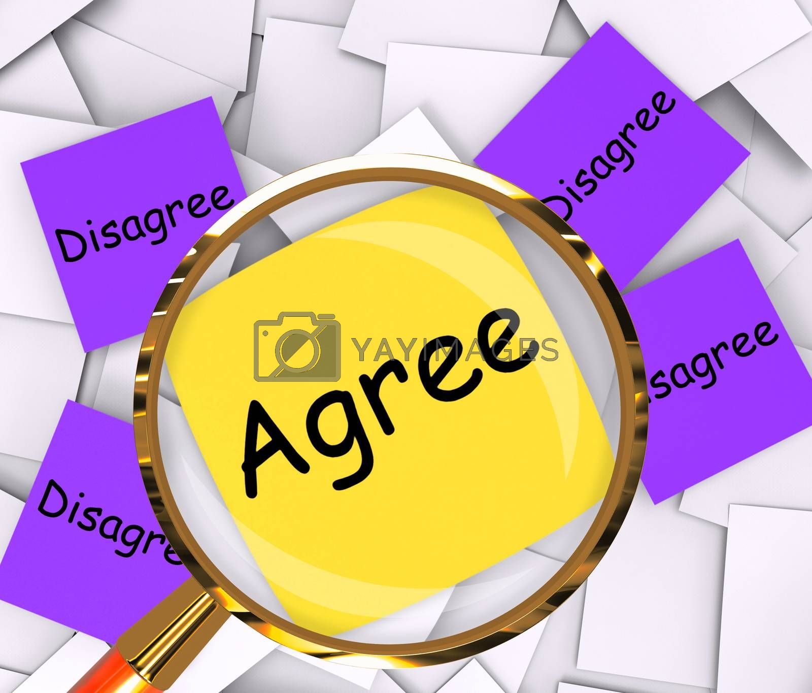 Agree Disagree Post-It Papers Mean Opinion Agreement Or Disagree by stuartmiles