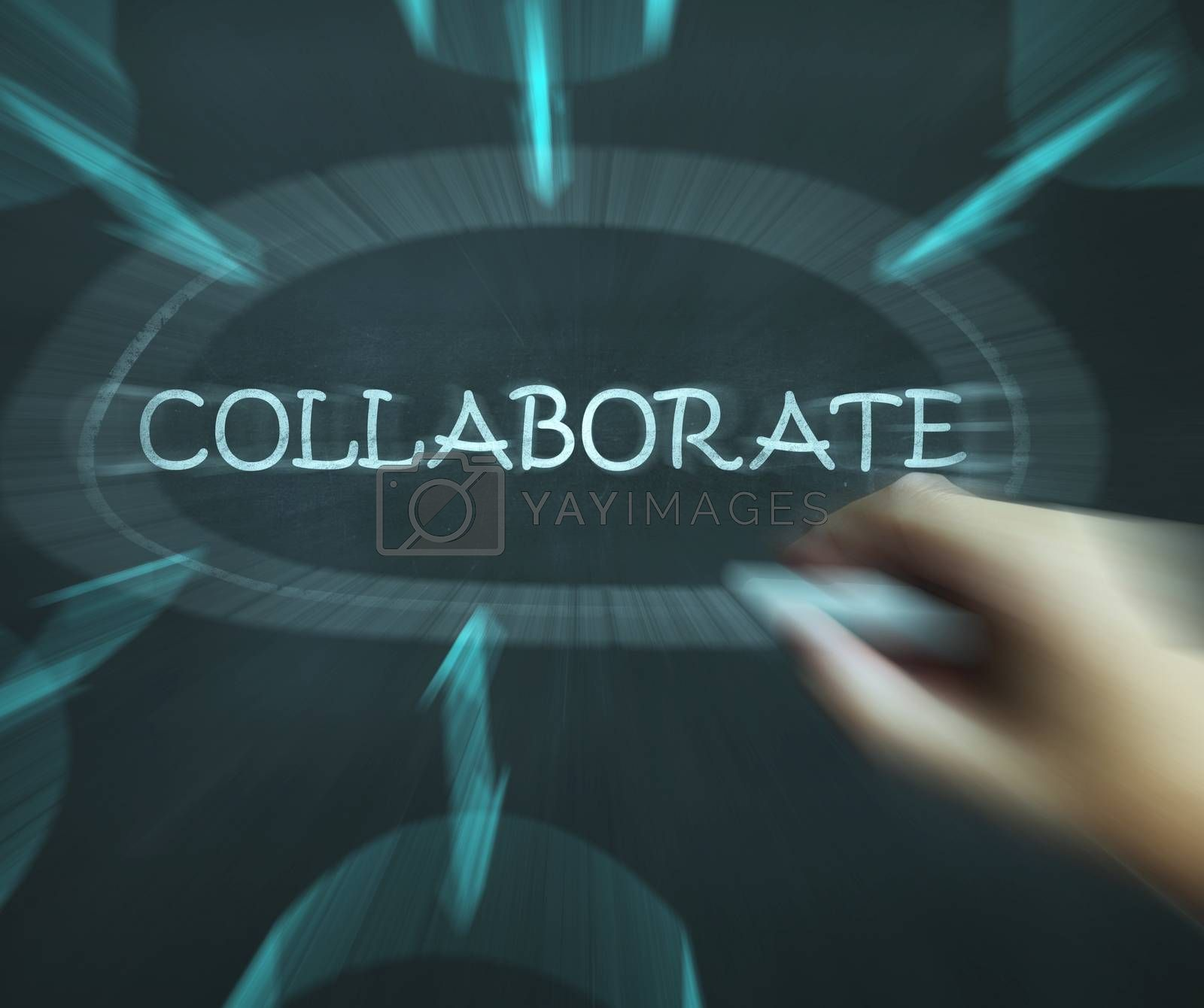 Collaborate Diagram Shows Working Together And Synergy by stuartmiles