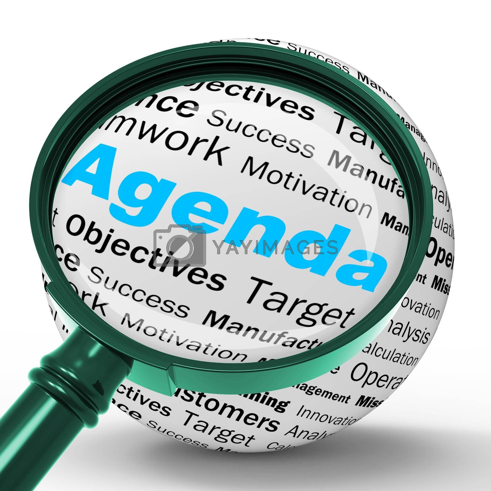 Agenda Magnifier Definition Means Schedule Planner Or Reminder by stuartmiles