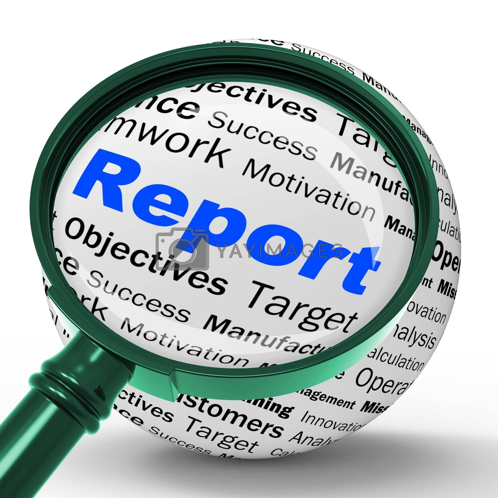 Report Magnifier Definition Shows Progress Statistics And Financ by stuartmiles