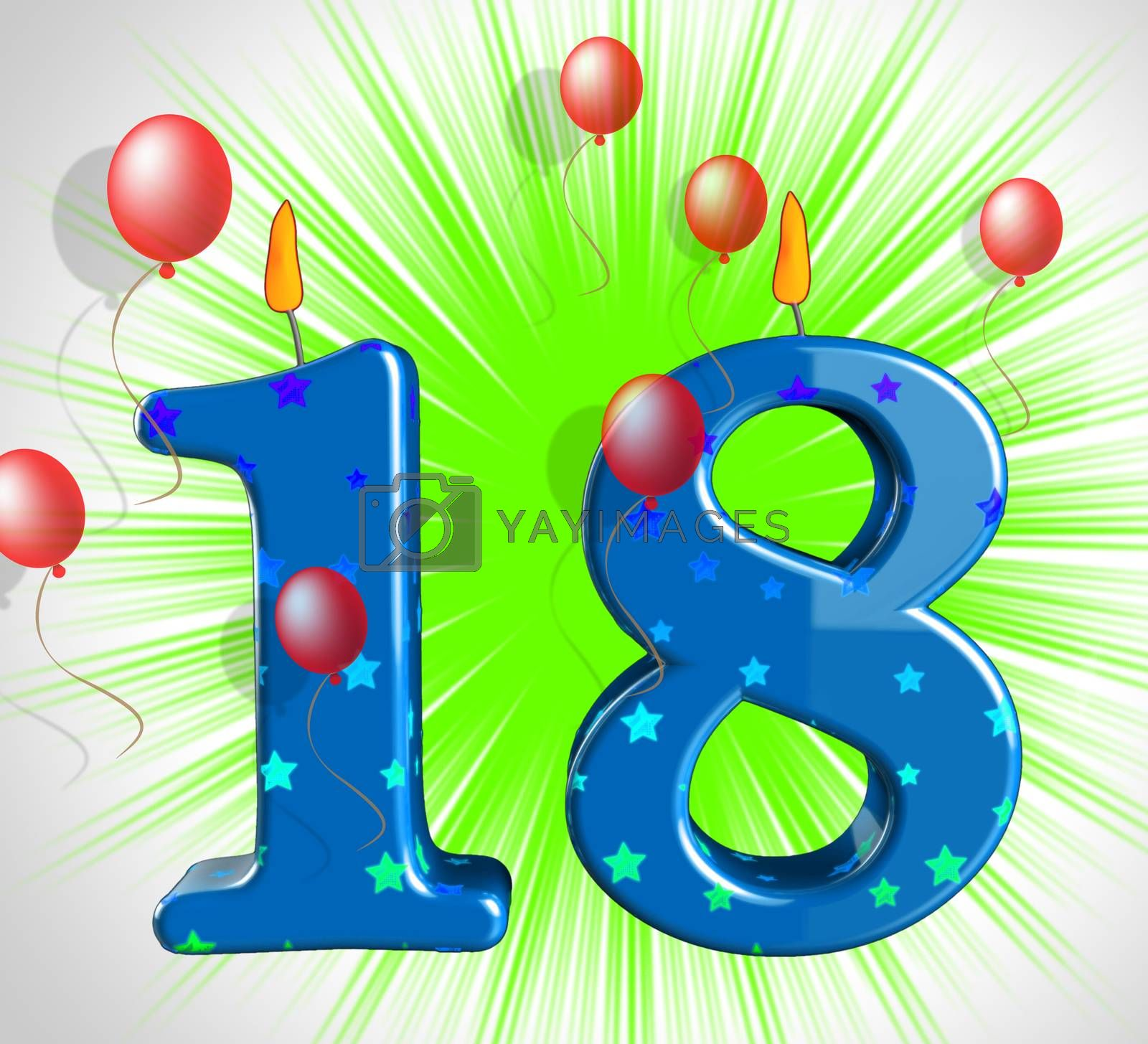 Number Eighteen Party Show Teen Birthday Or Decoration by stuartmiles