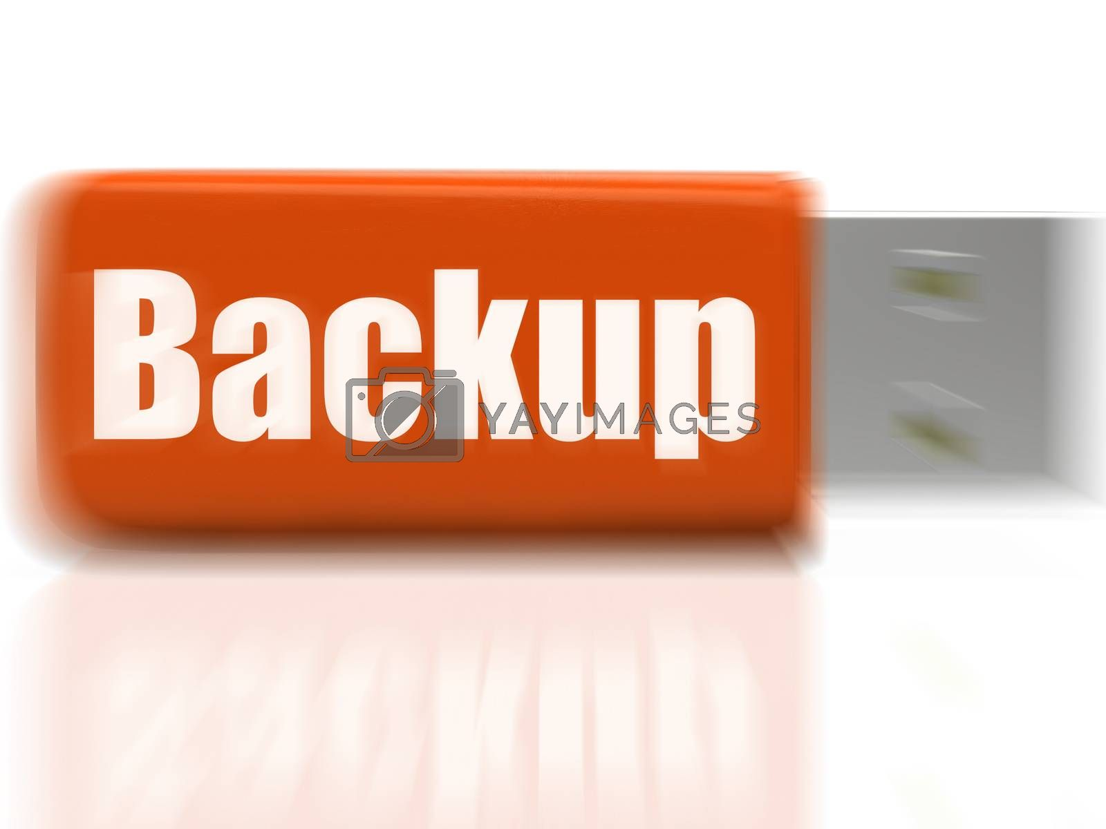 Backup USB drive Shows Data Storage Or File Transfer by stuartmiles