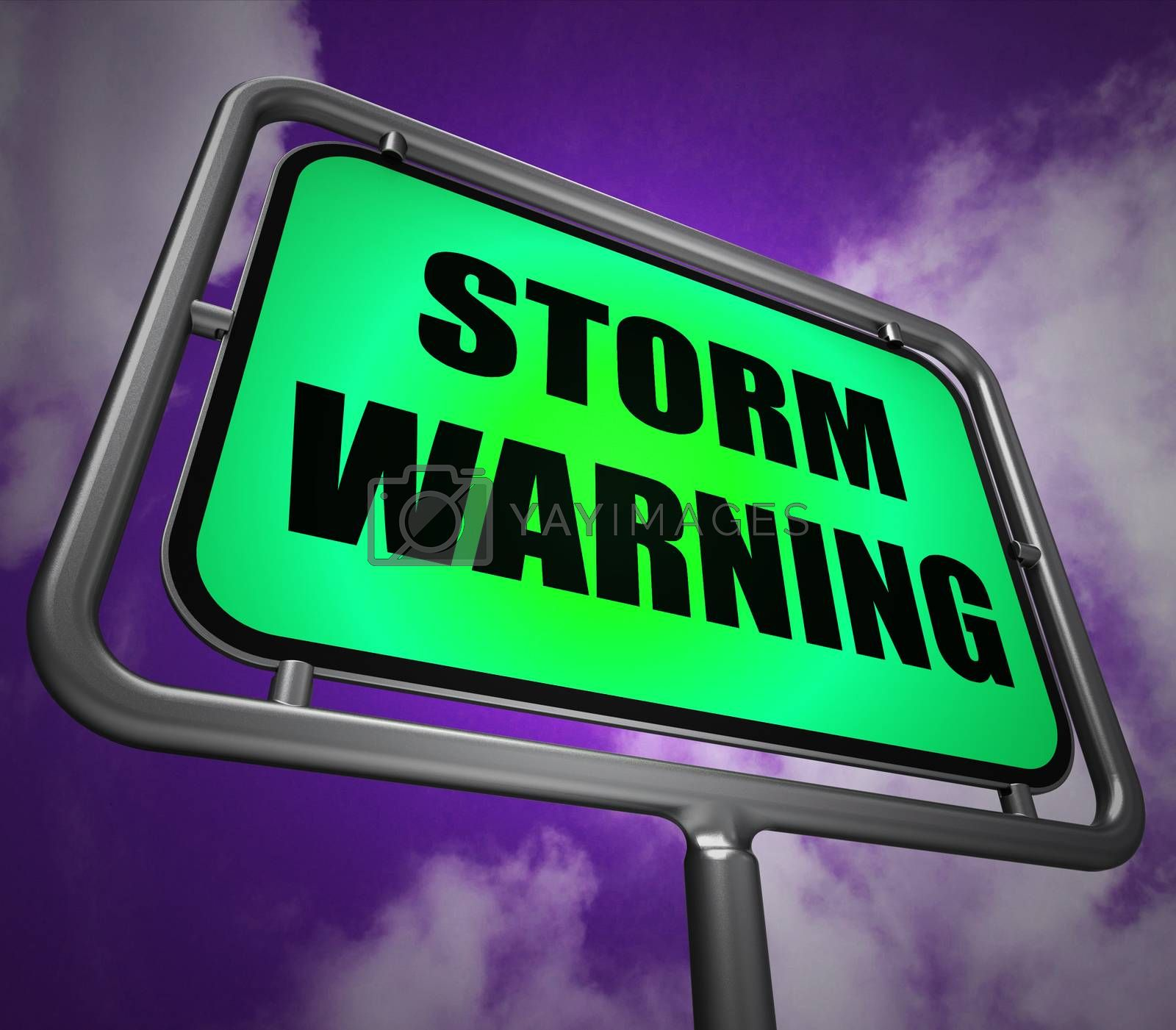 Storm Warning Signpost Represents Forecasting Danger Ahead by stuartmiles