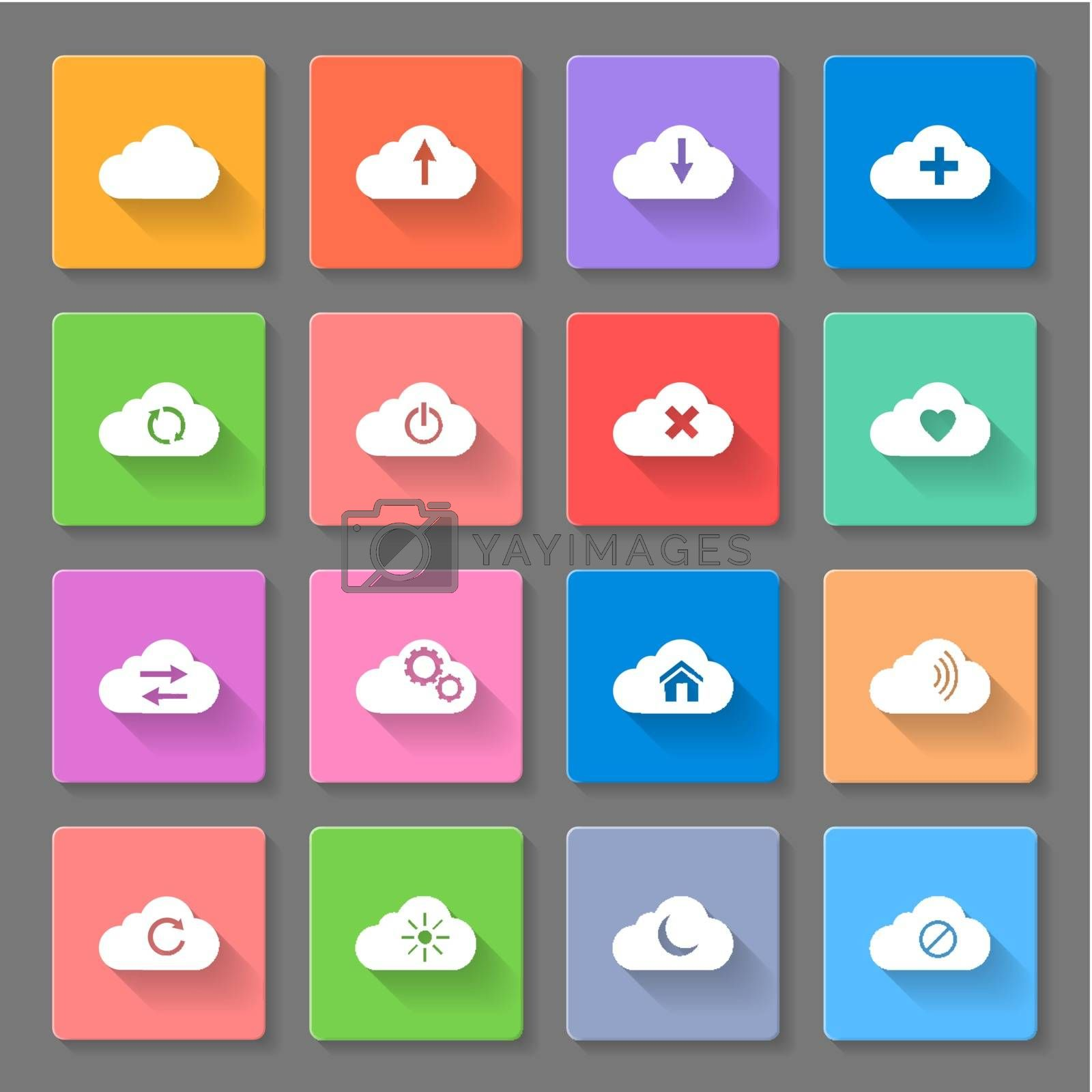 Set of flat cloud icons by dvarg