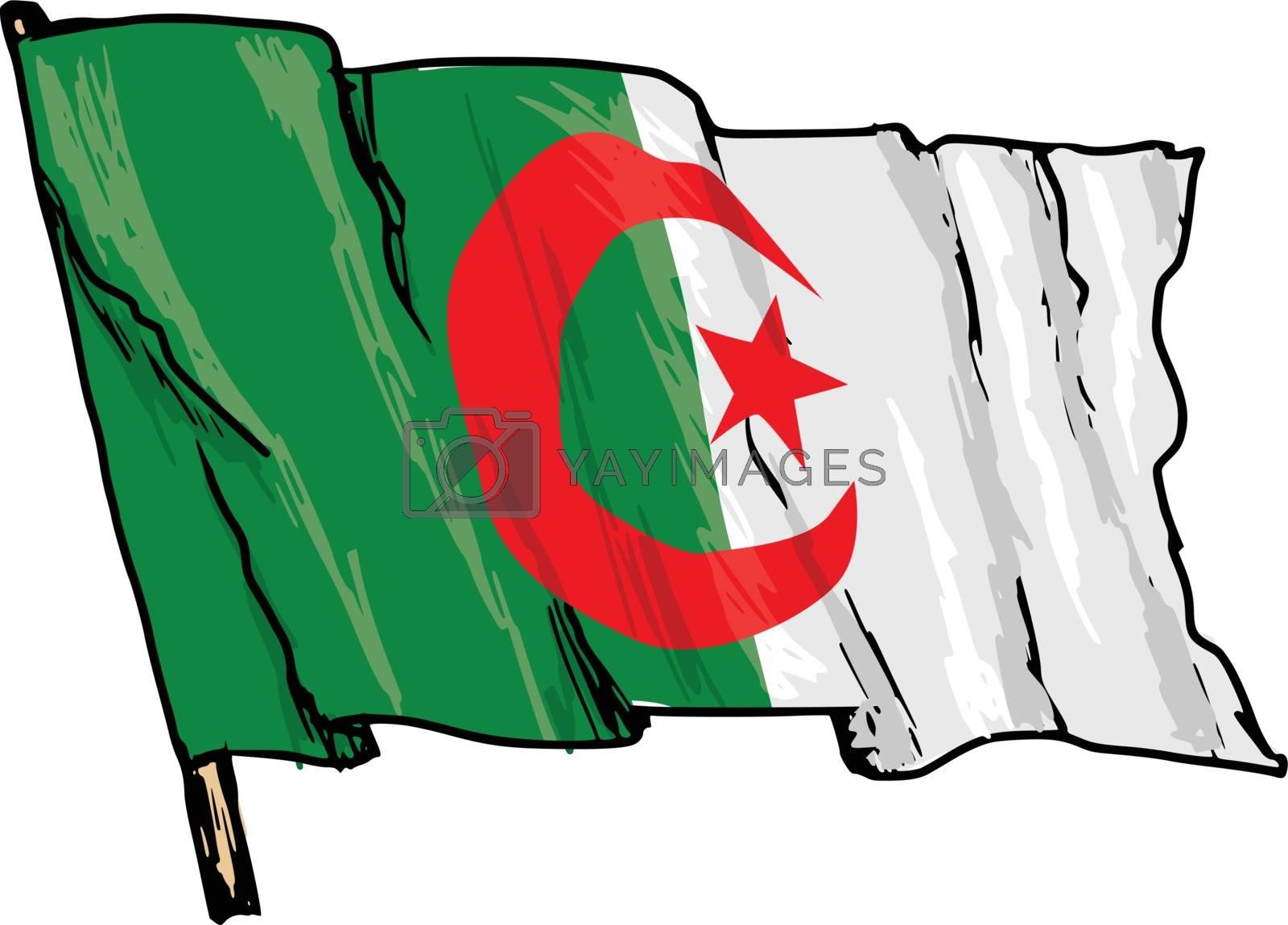 hand drawn, sketch, illustration of flag of Algeria