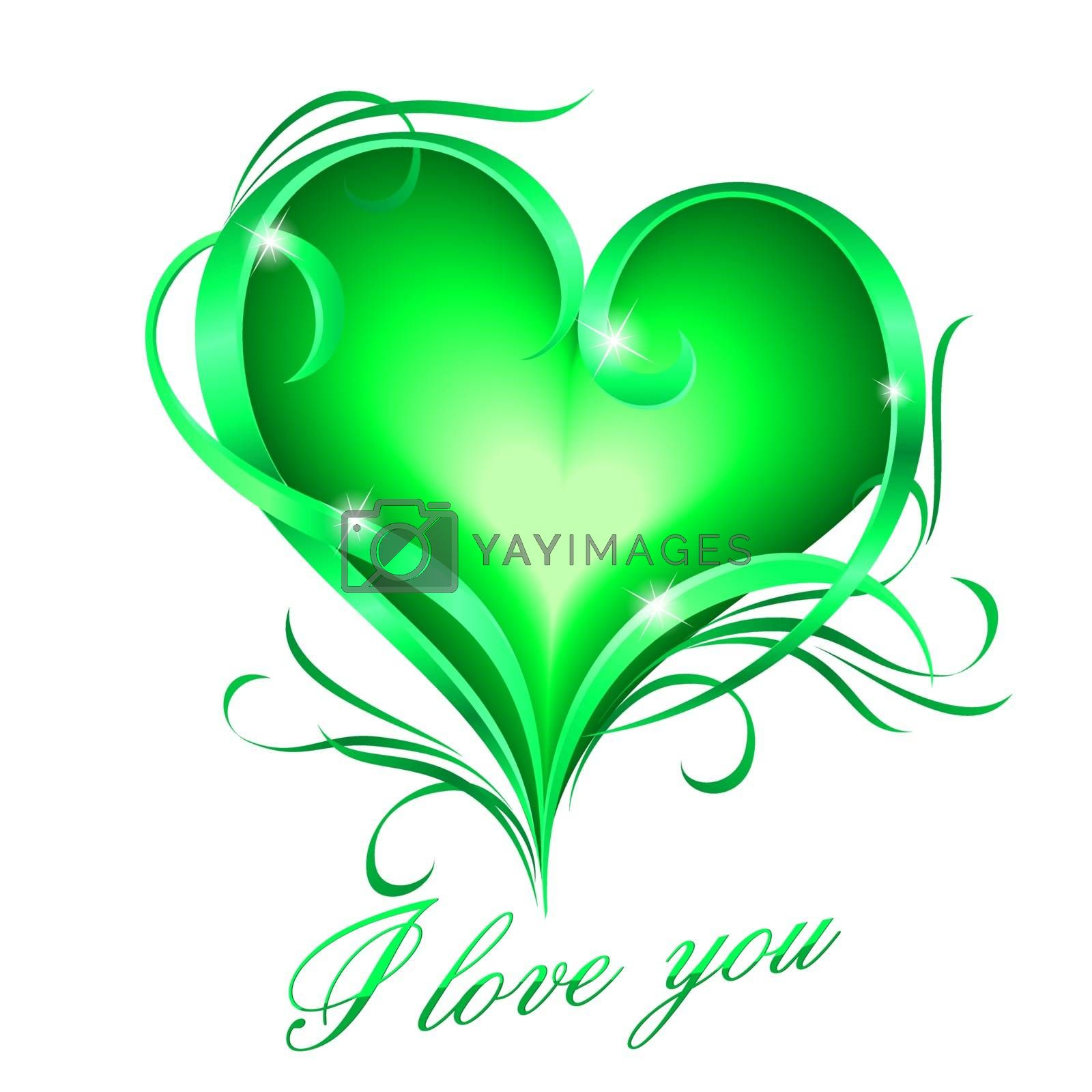 Green heart with I love you text by dvarg