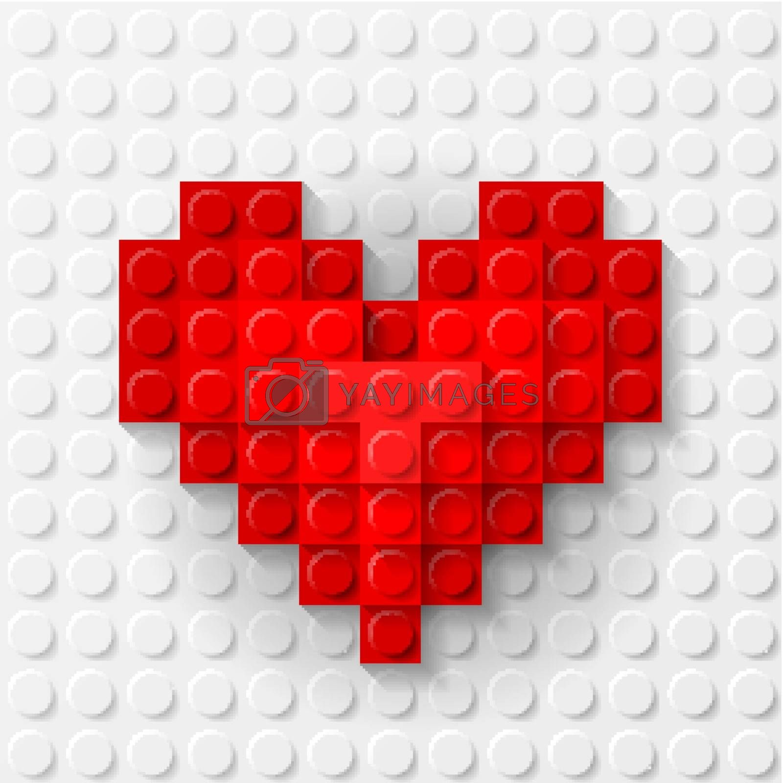 Red heart made of construction kit by dvarg