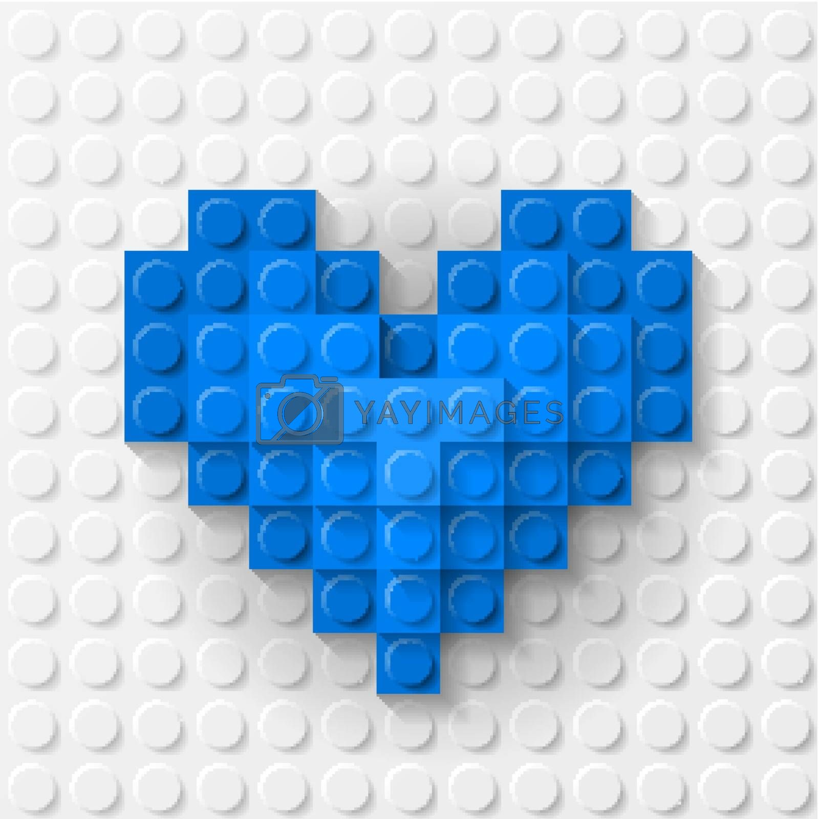Blue heart made of construction kit by dvarg