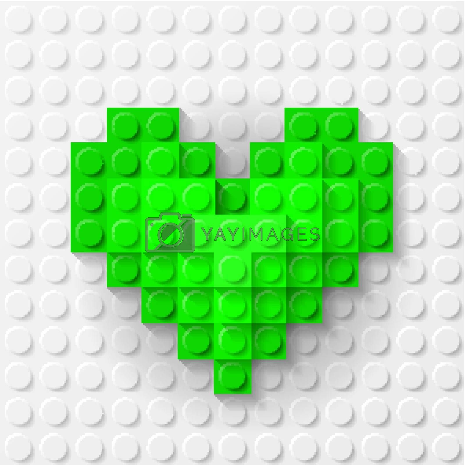 Green heart made of construction kit by dvarg
