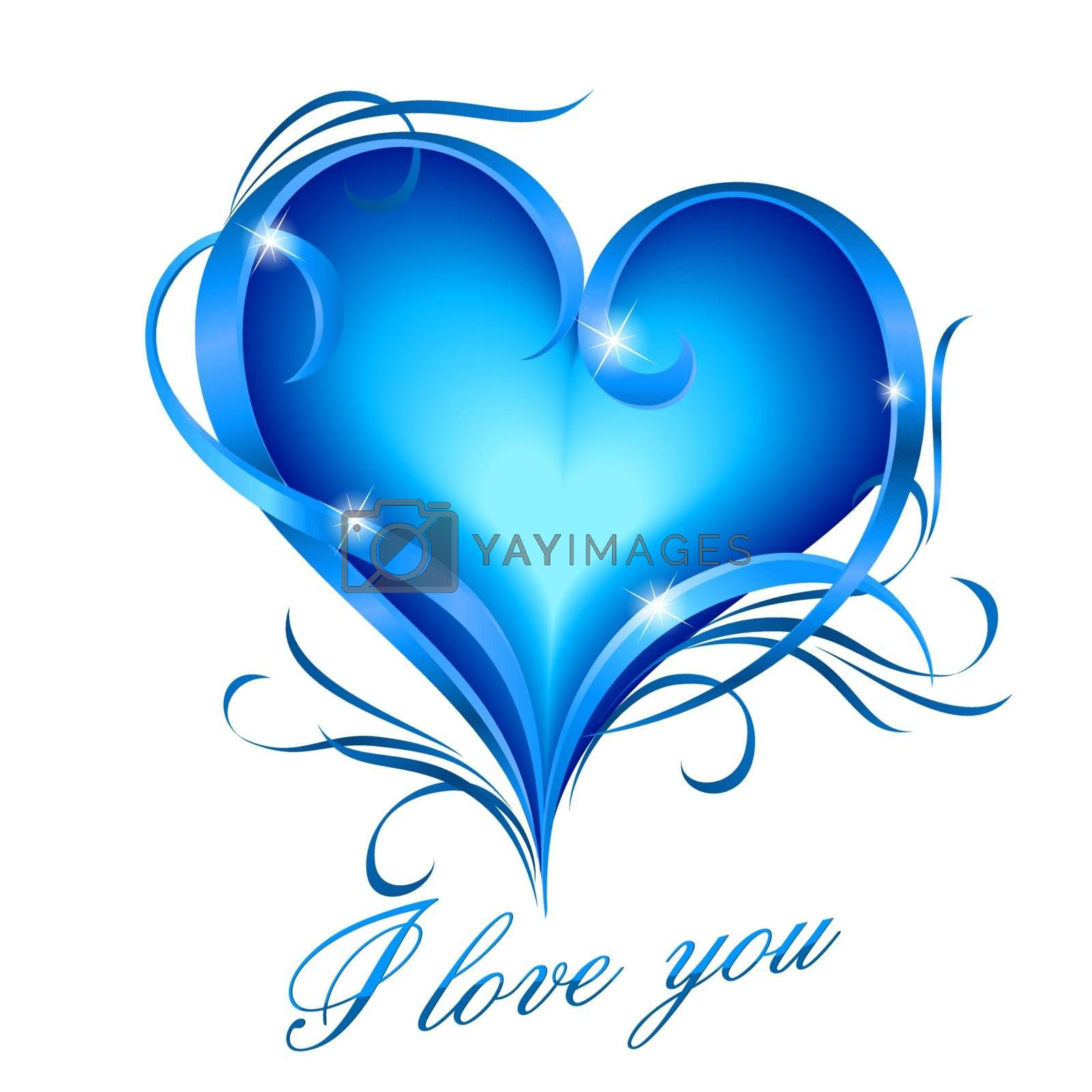 Blue heart with I love you text by dvarg