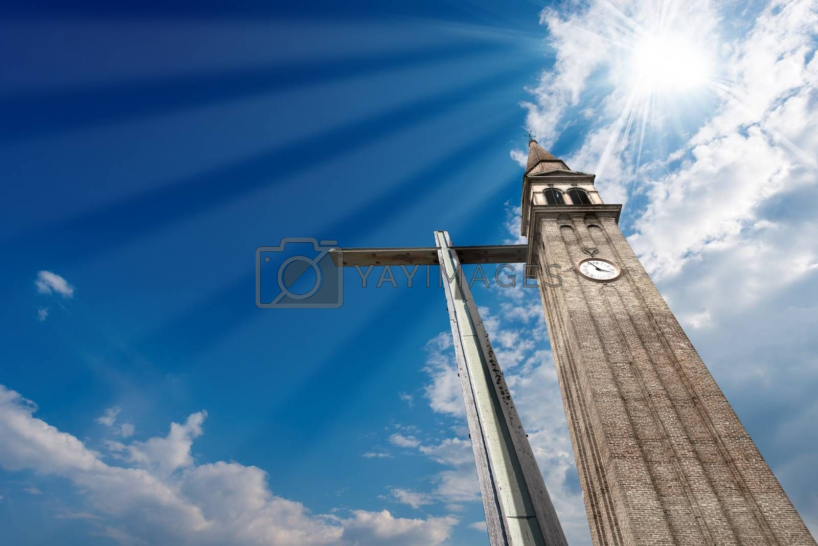 Cross and Belfry on Blue Sky by catalby