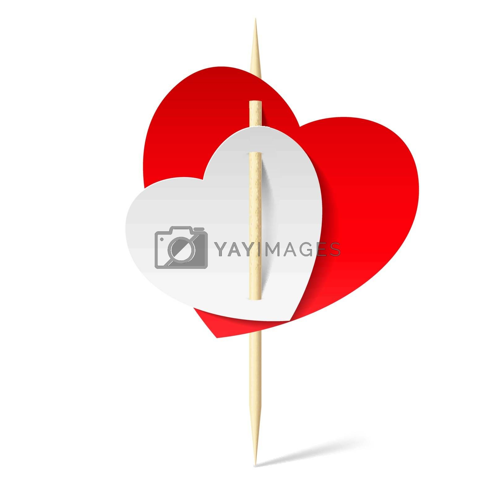 Two paper hearts on toothpick by dvarg