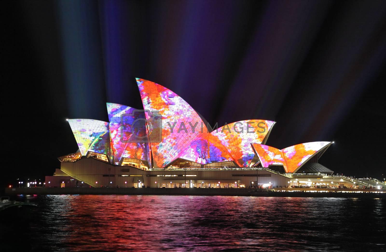 SYDNEY, AUSTRALIA - JUNE 2, 2014; Sydney Opera House illuminated by lovleah