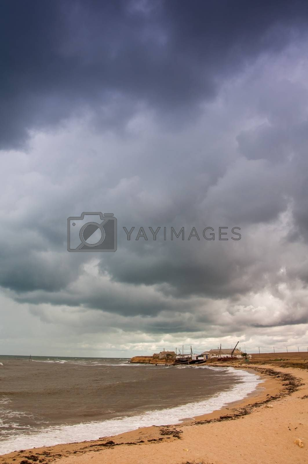 View of stormy seascape. Toned. by bashta