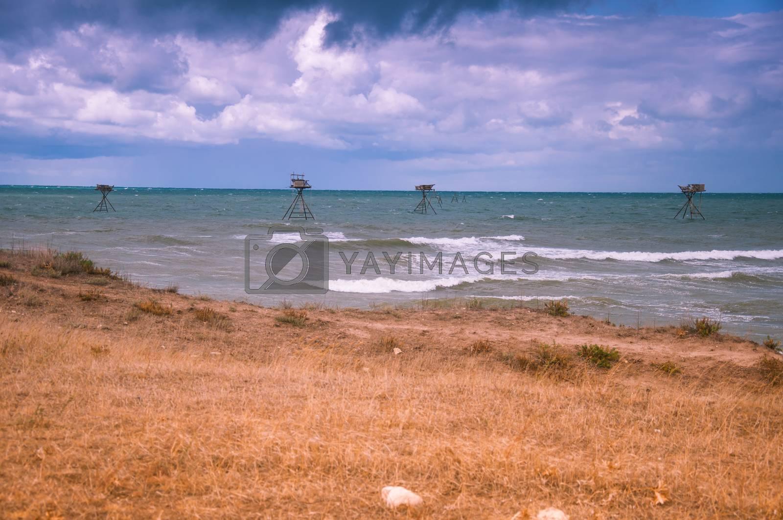 Fishing rigs in sea. by bashta