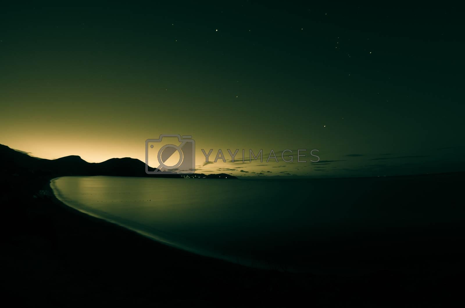 Night shot of sea. Toned. by bashta