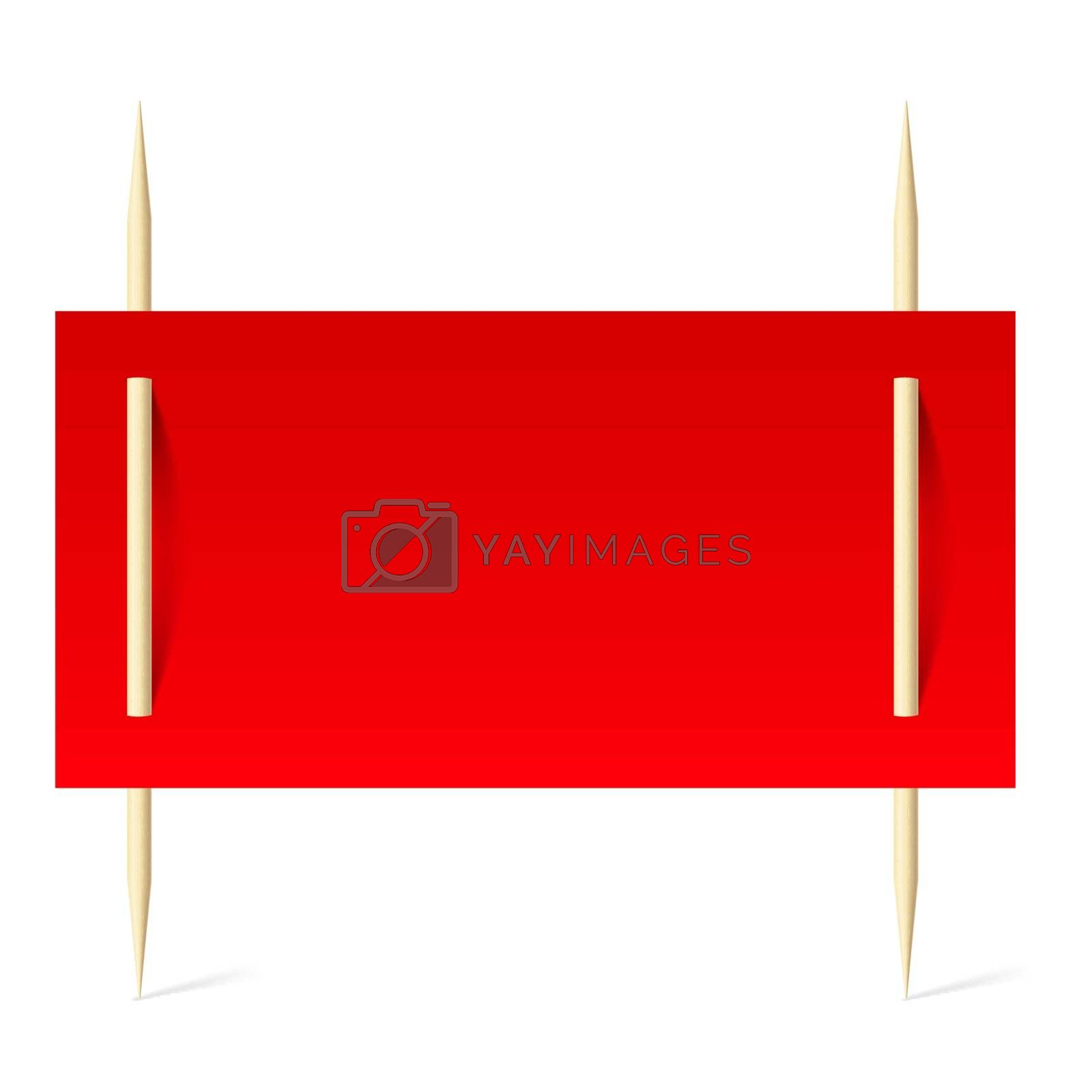 Red paper on toothpicks by dvarg