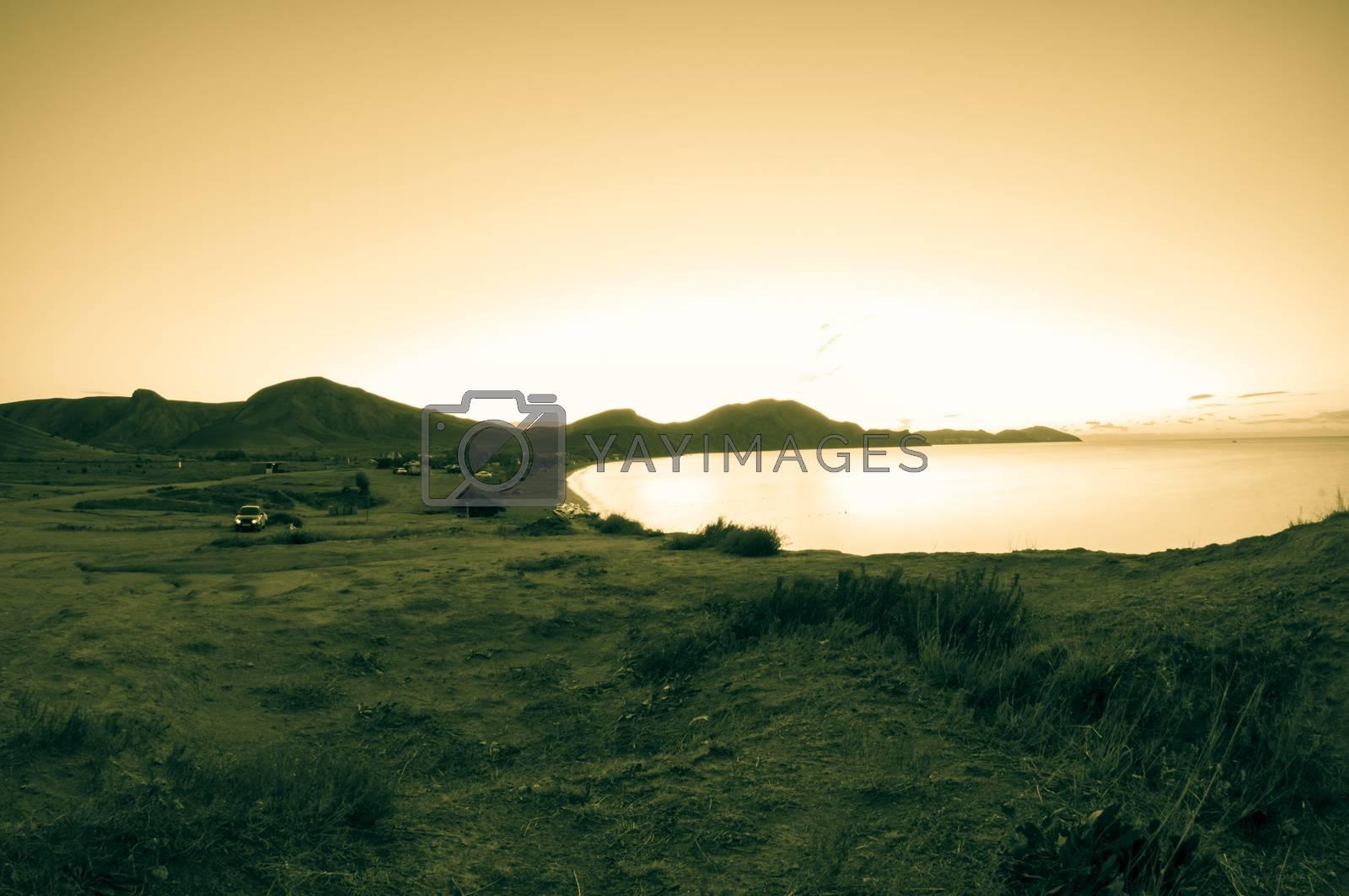 Morning sea. Camping on the beach. by bashta