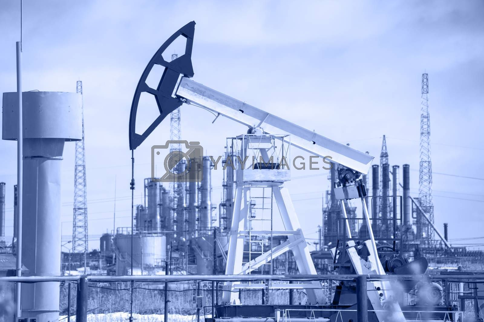 Pump jack and oil refinery. by bashta