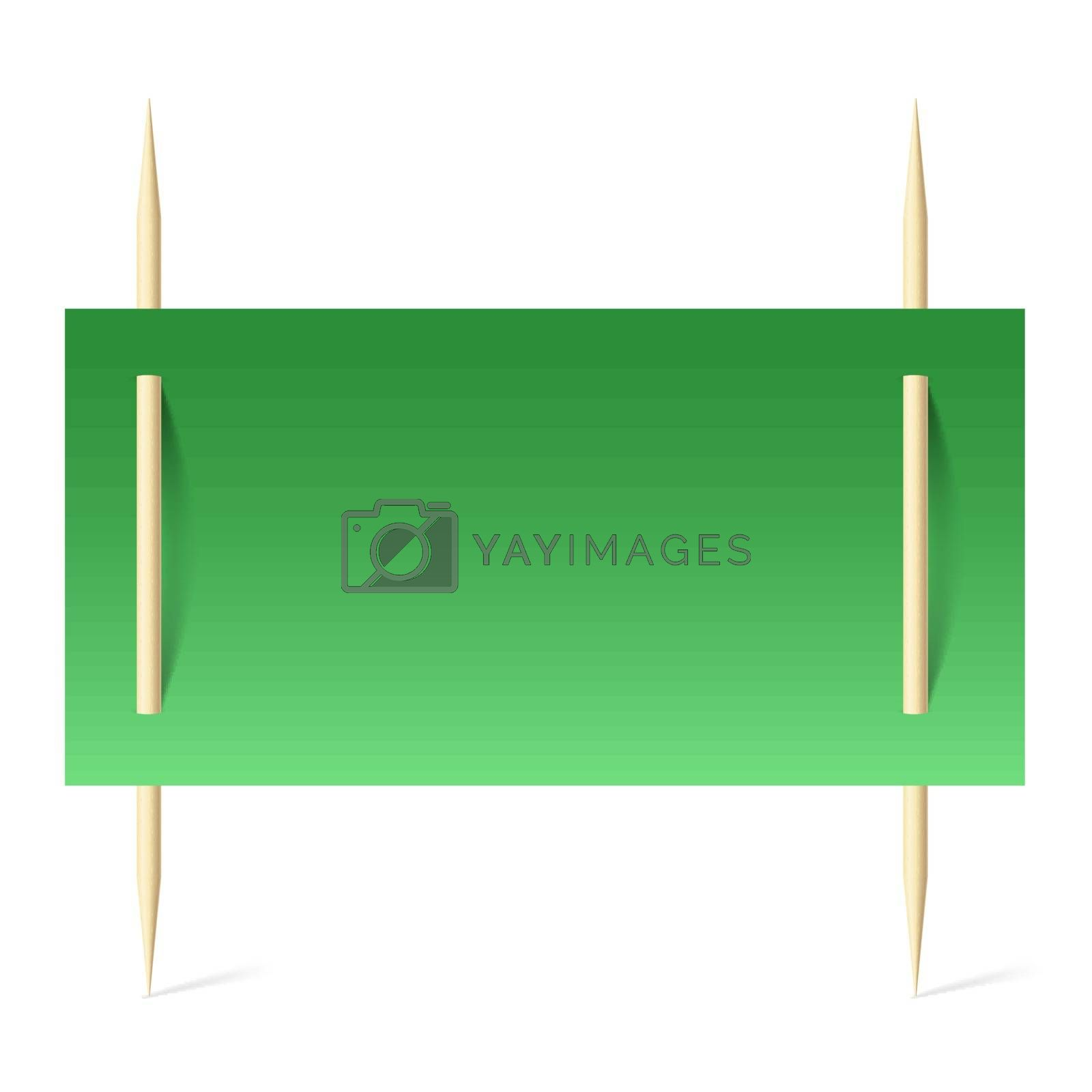Green paper on toothpicks by dvarg