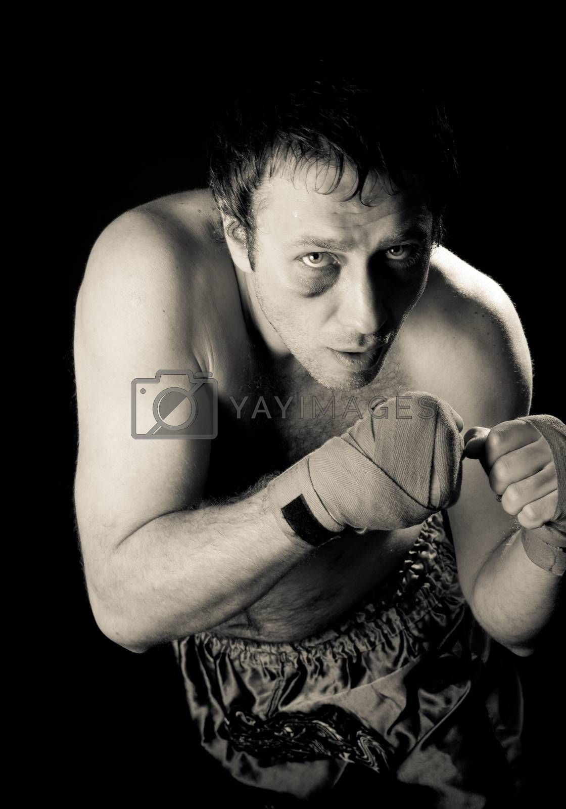 Fighter. Black and white photo. by bashta