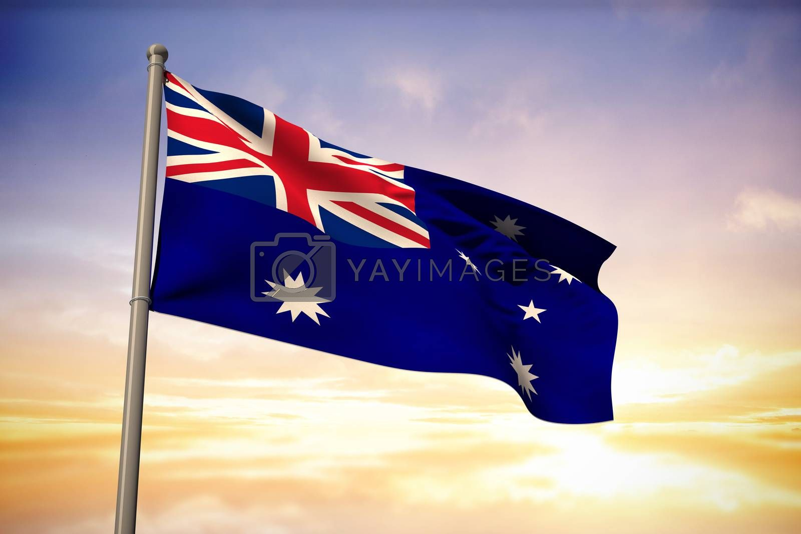 Australia national flag against beautiful blue and yellow sky
