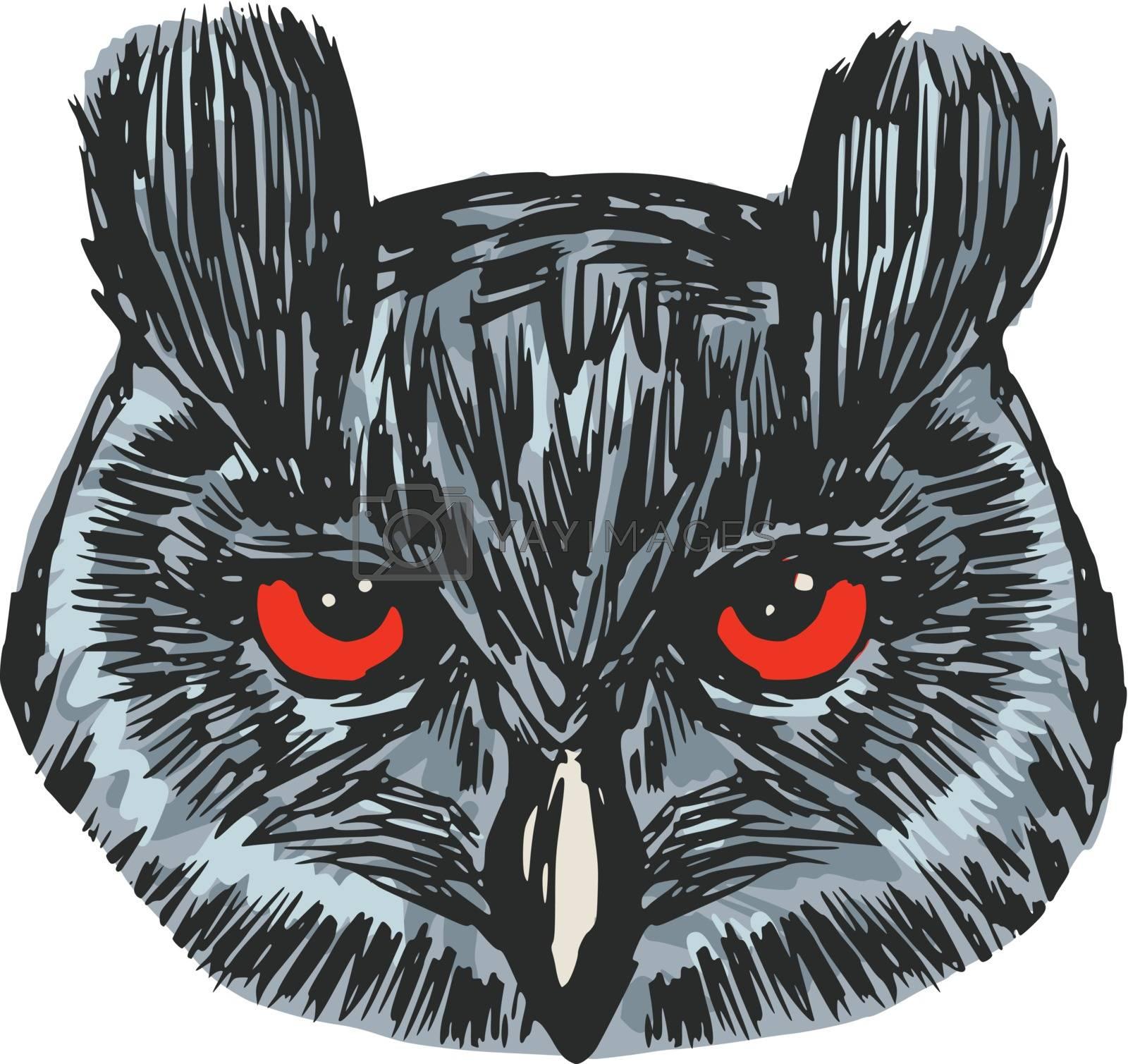 hand drawn, sketch, cartoon illustration of owl